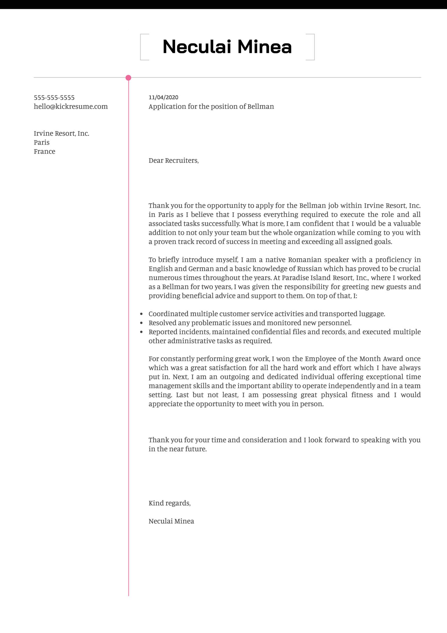 Bellman Cover Letter Sample