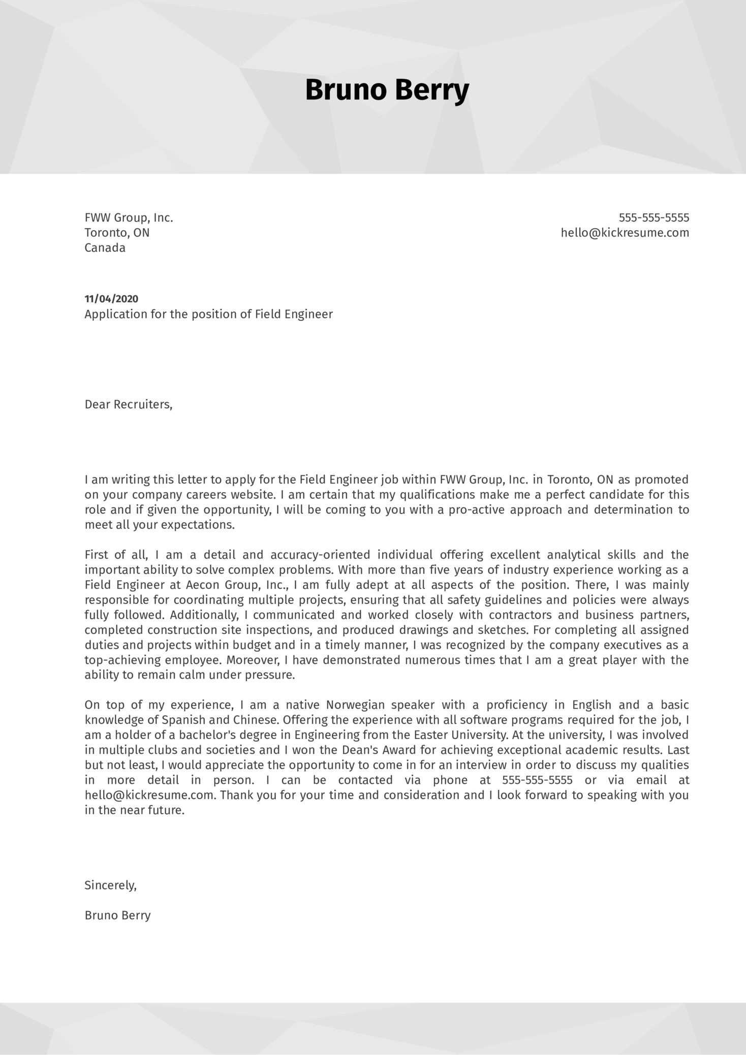 Field Engineer Cover Letter Example