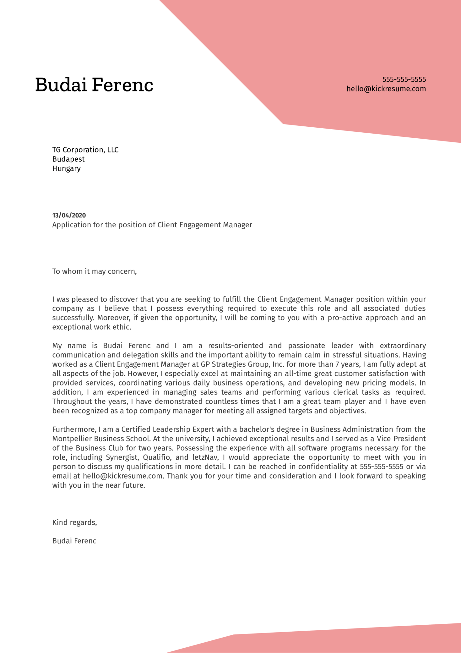 Client Engagement Manager Cover Letter Example