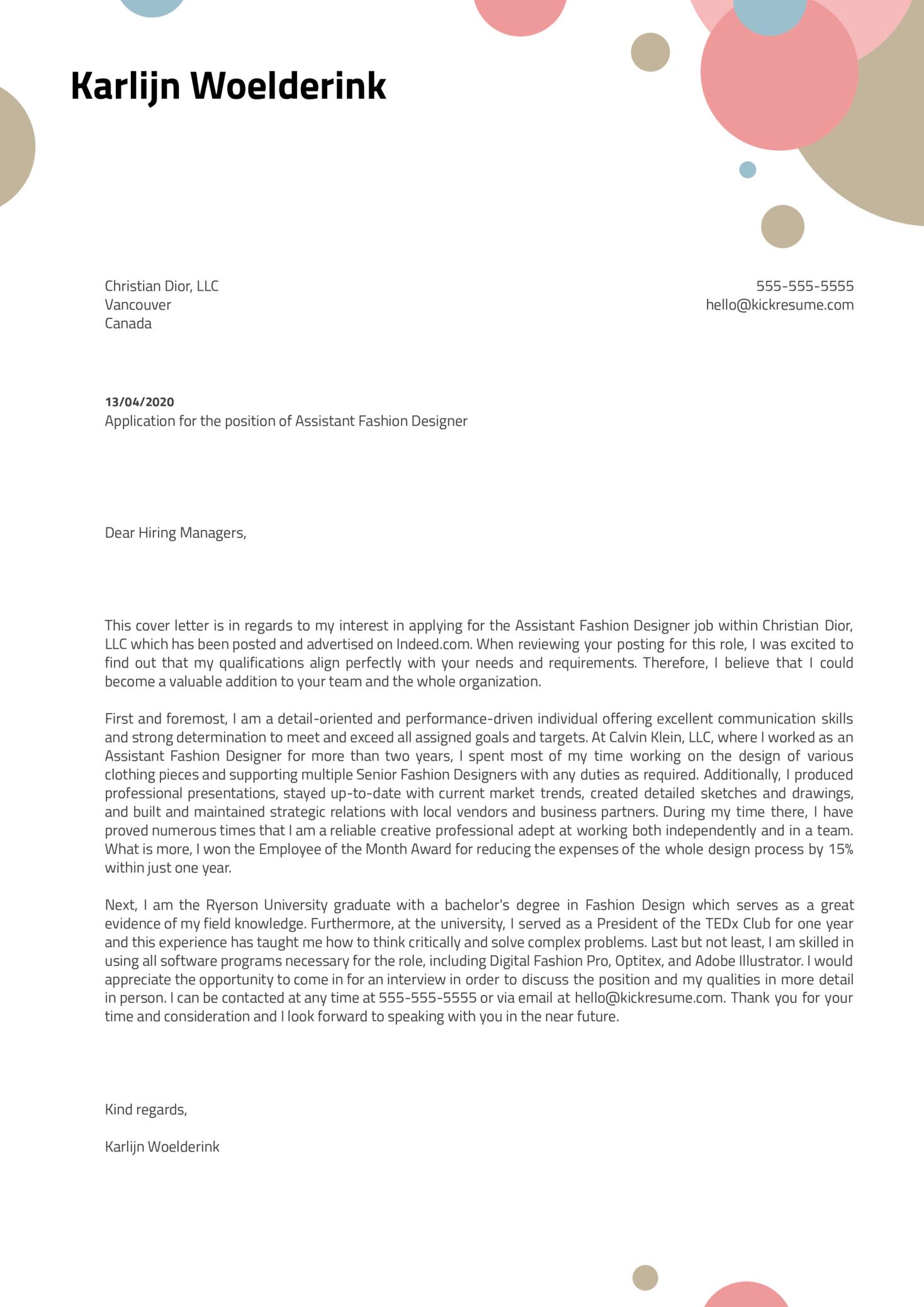 Assistant Fashion Designer Cover Letter Sample