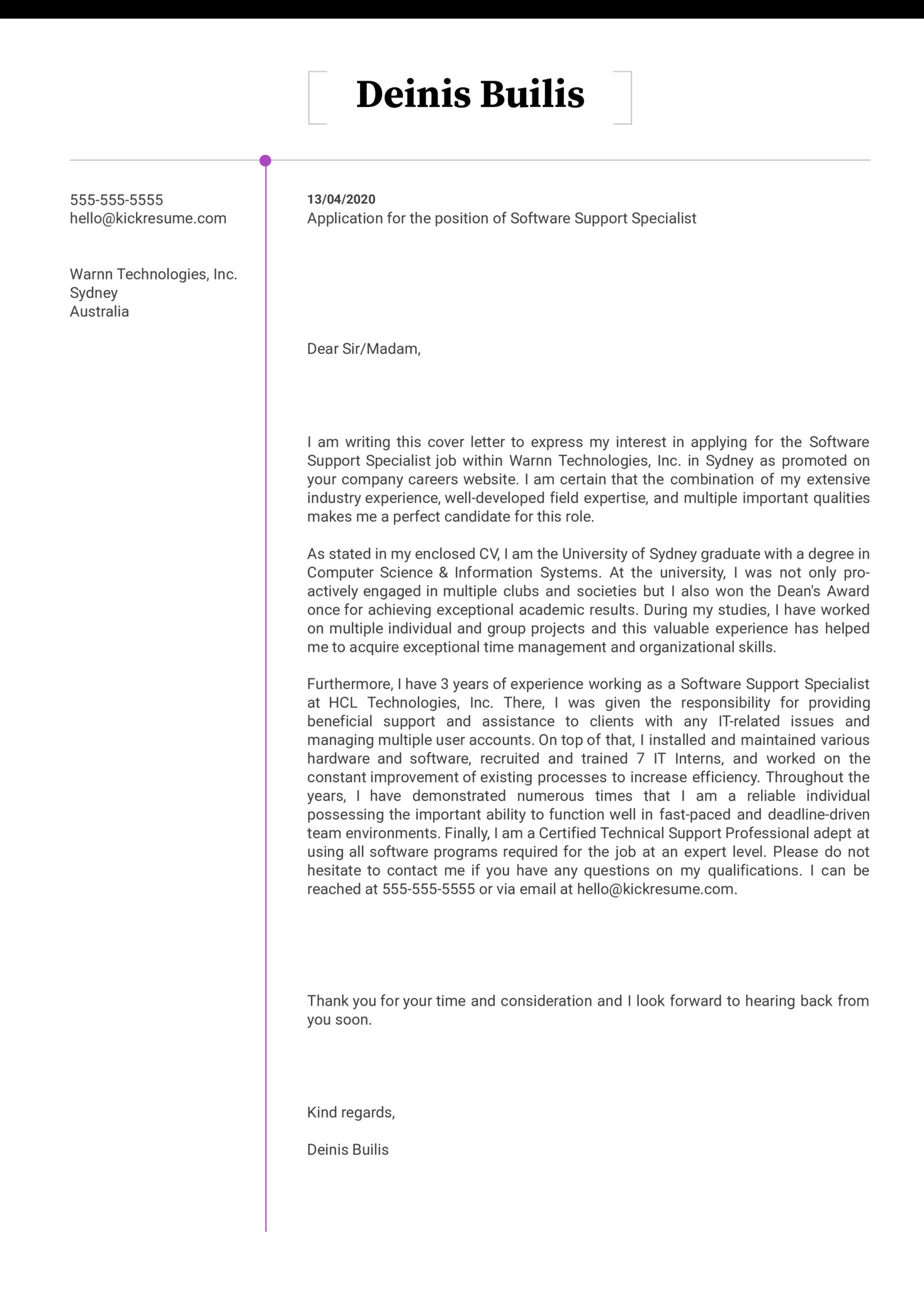 Software Support Specialist Cover Letter