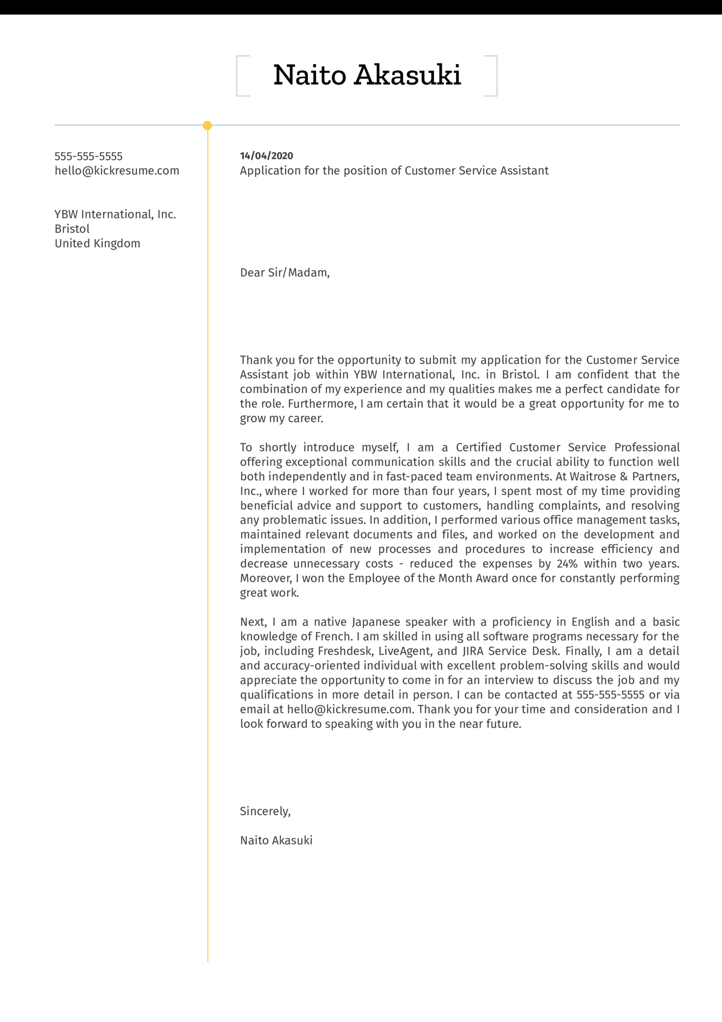 Customer Service Assistant Cover Letter Example