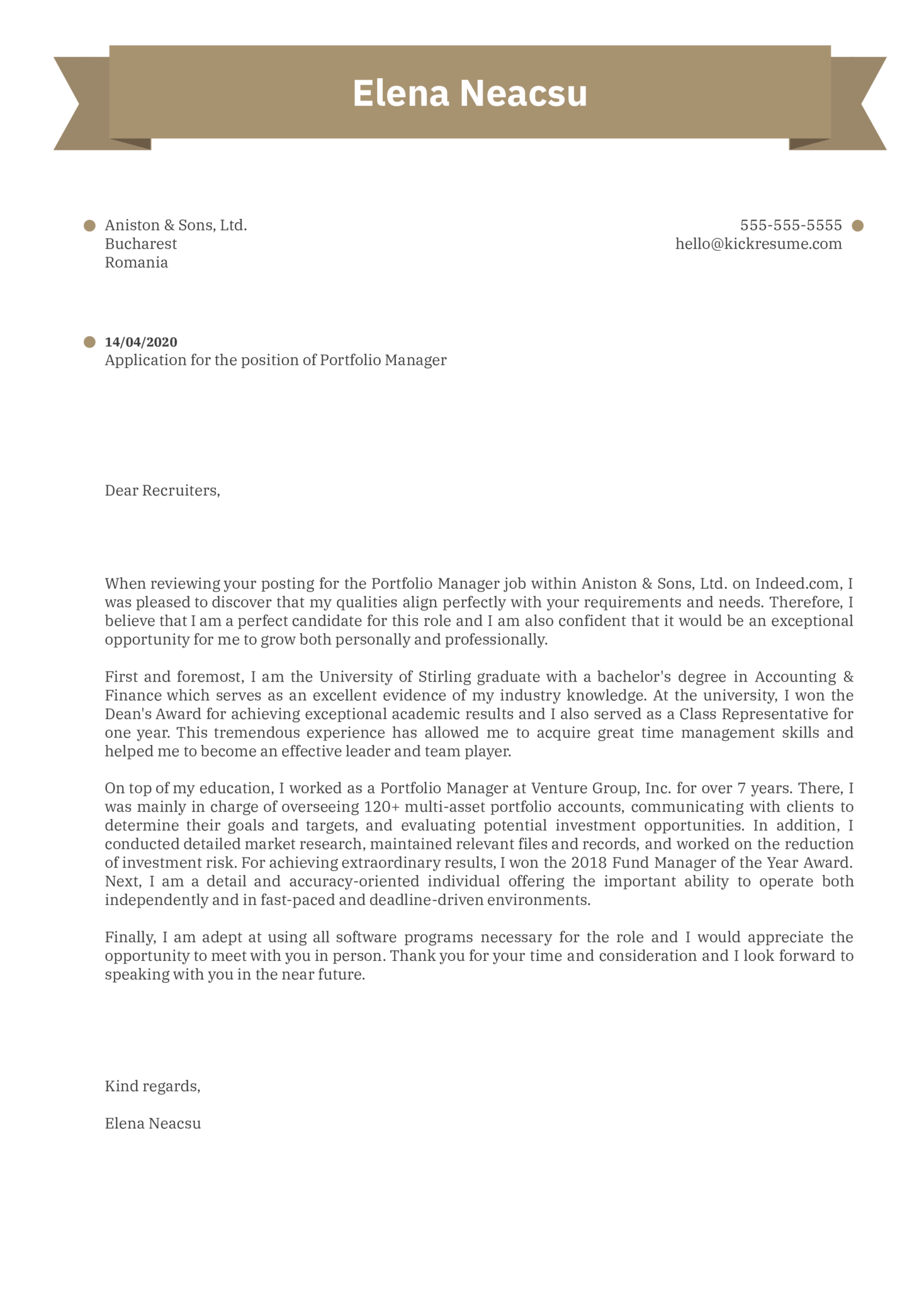 Portfolio Manager Cover Letter Example