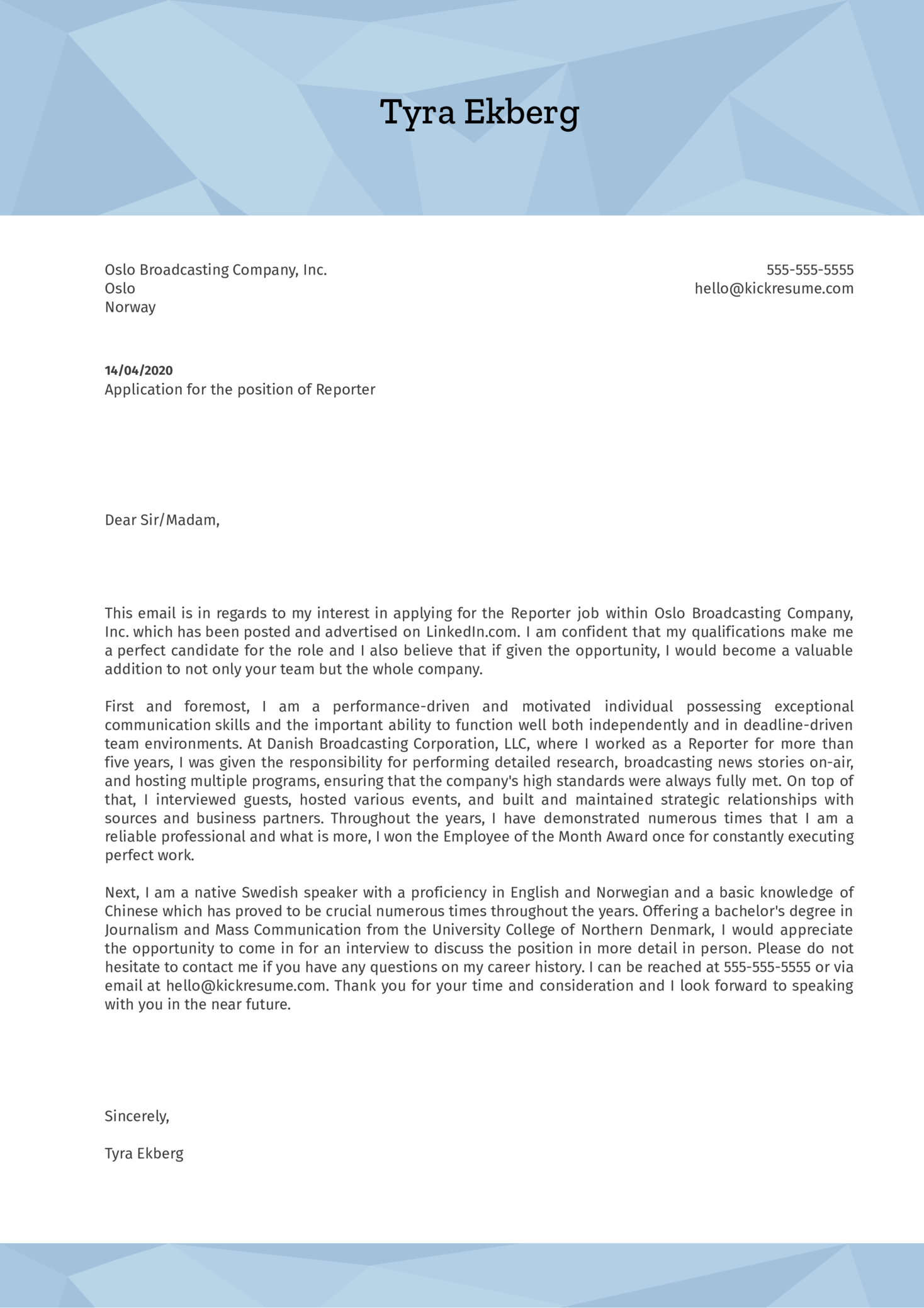 Reporter Cover Letter Example