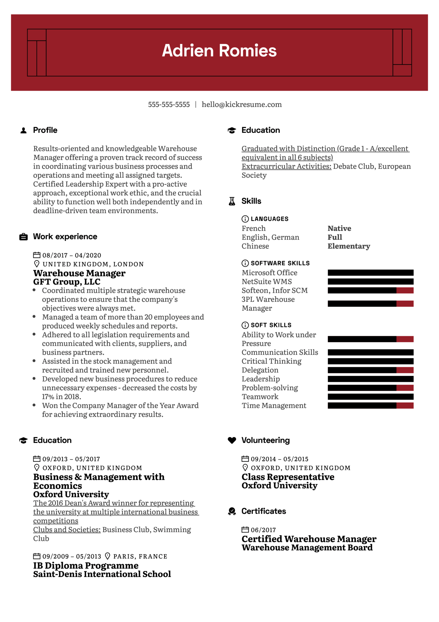 Warehouse Manager CV Example (parte 1)