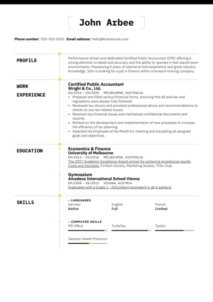 Certified Public Accountant (CPA) Resume Example