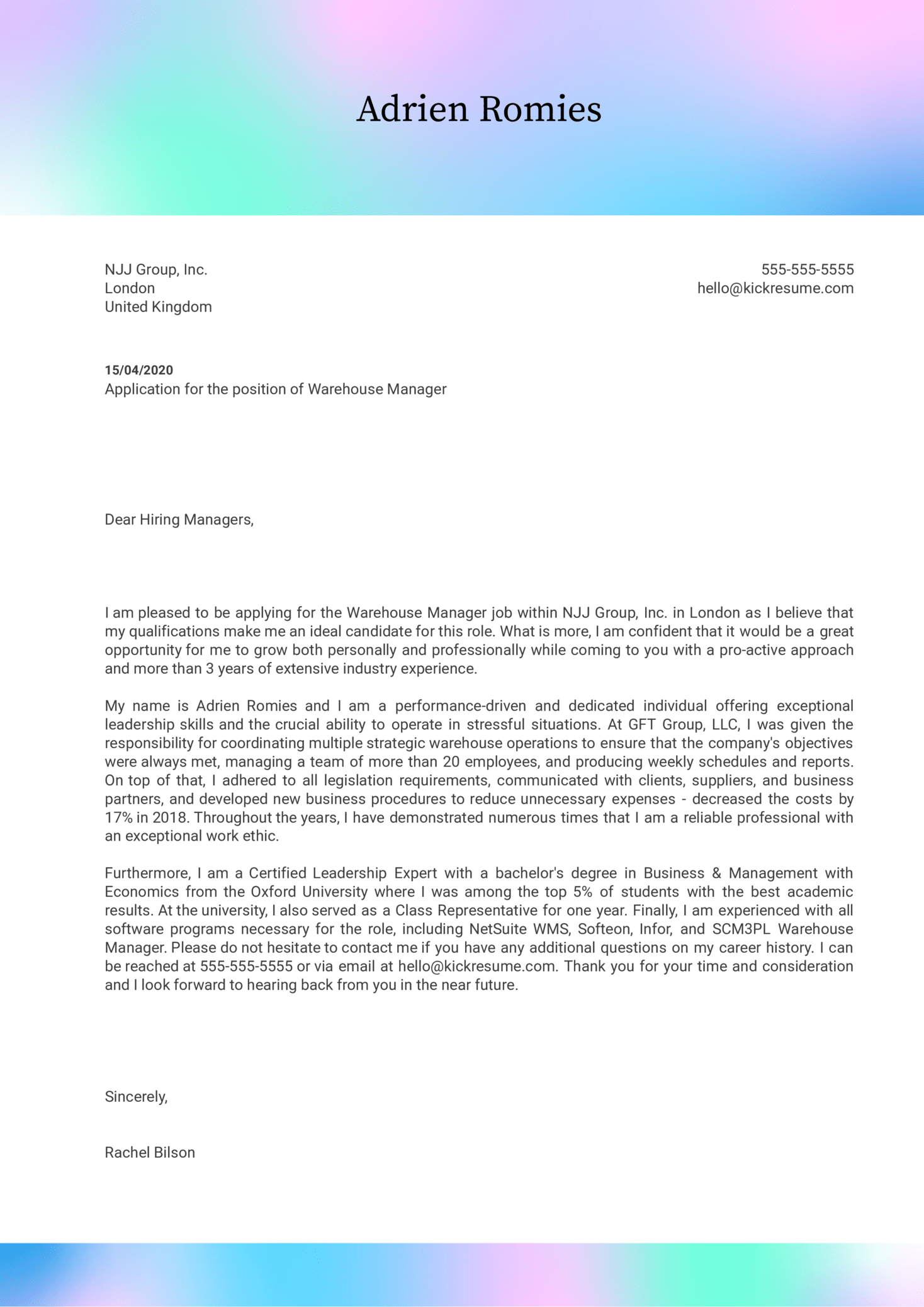 Warehouse Manager Cover Letter Sample