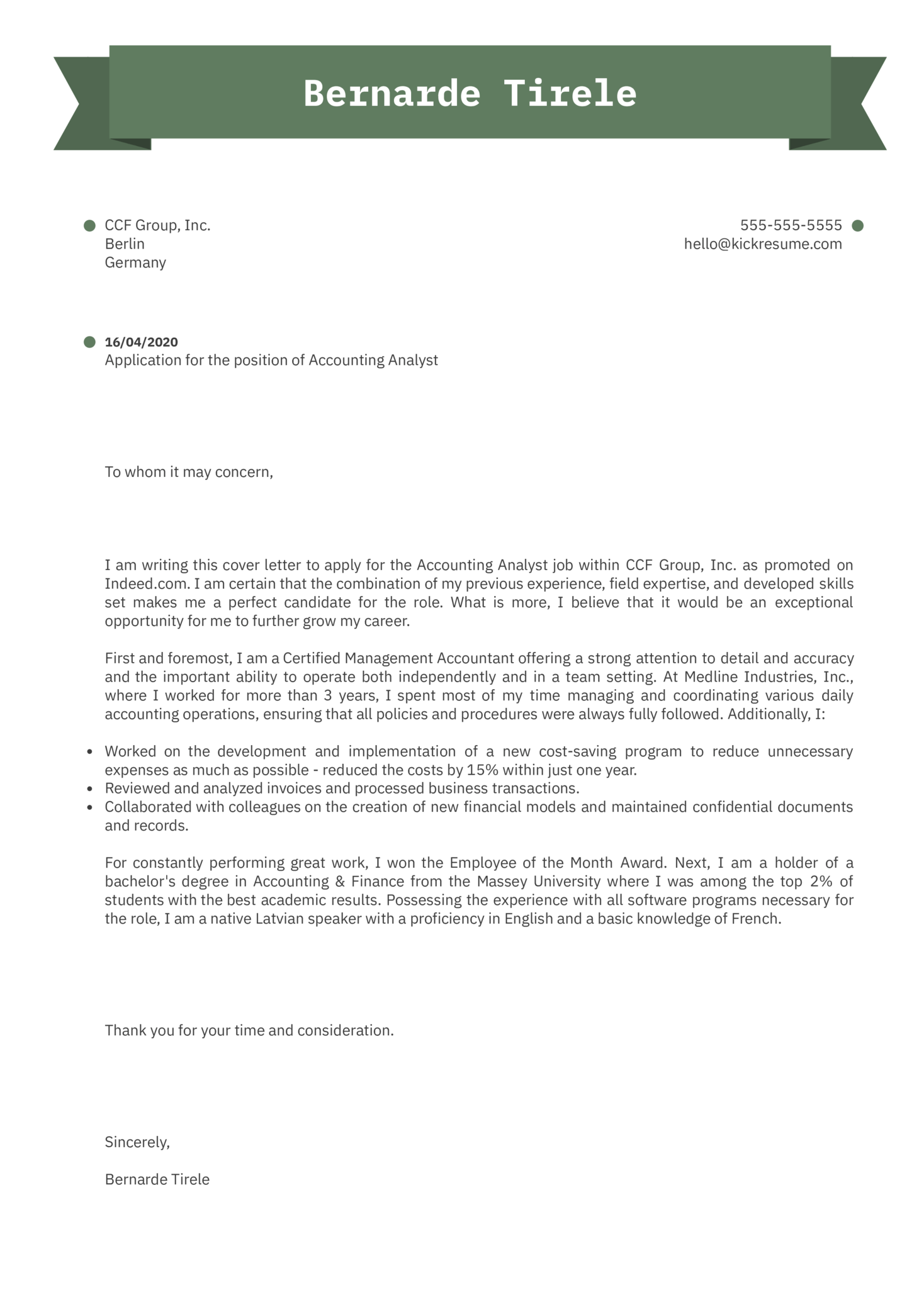 Accounting Analyst Cover Letter Sample