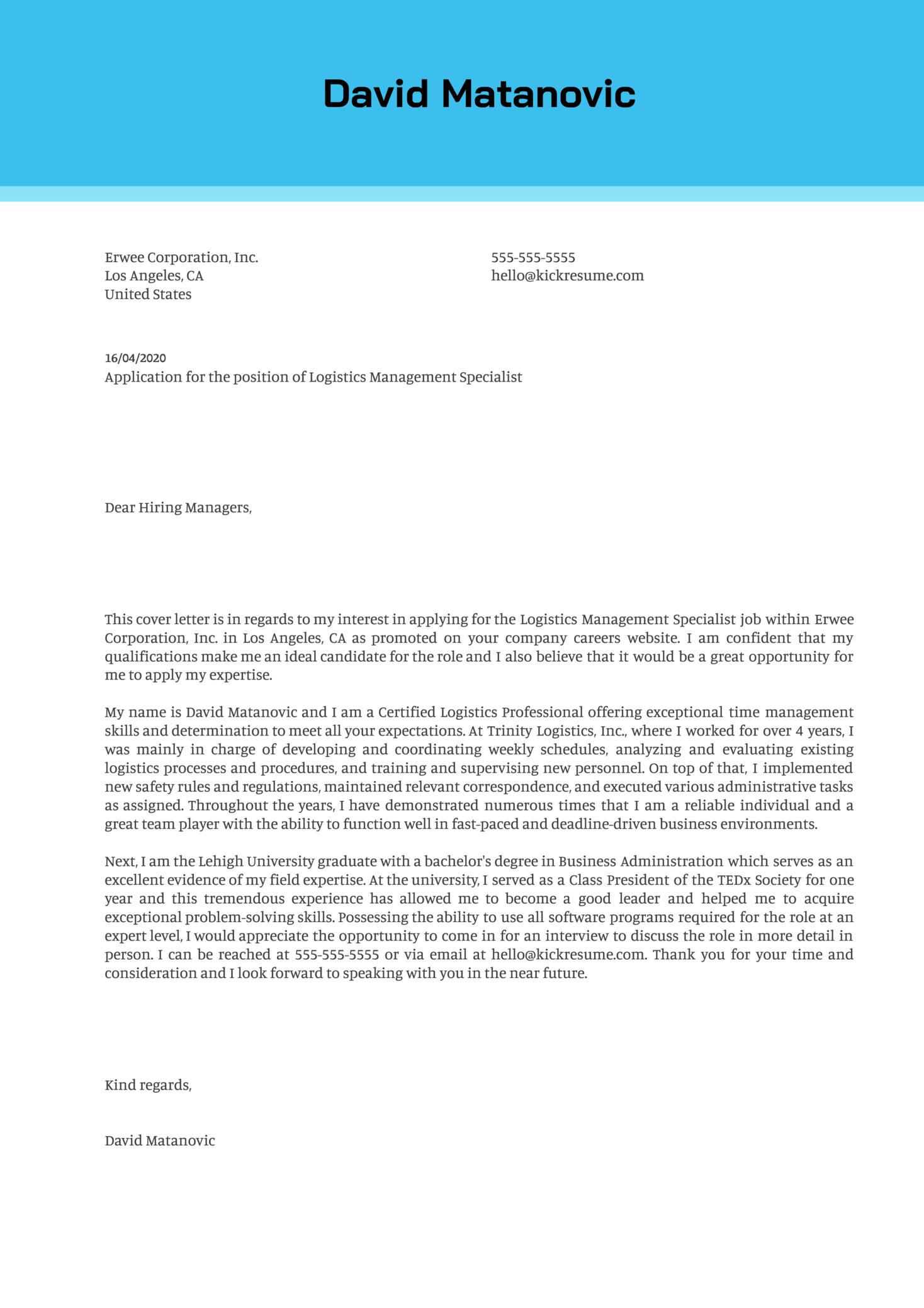 Logistics Management Specialist Cover Letter Sample