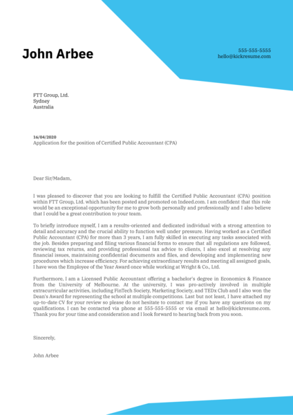Certified Public Accountant (CPA) Cover Letter Example