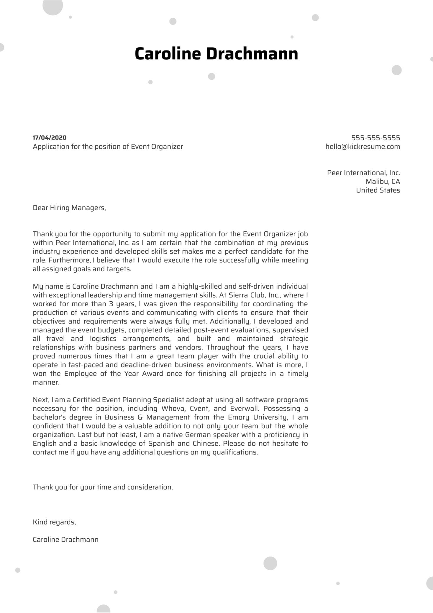 Event Organizer Cover Letter Sample