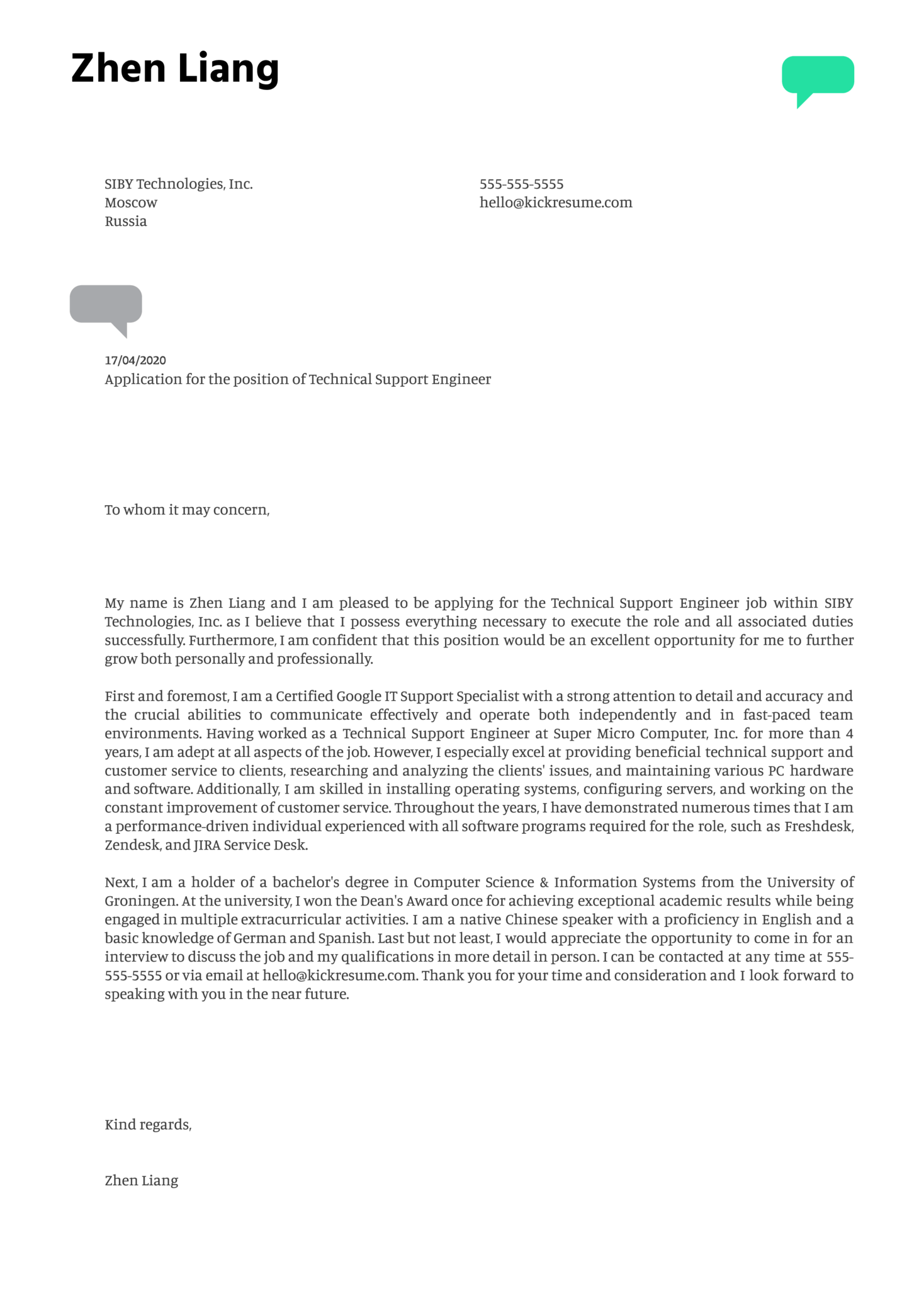 Technical Support Engineer Cover Letter Example