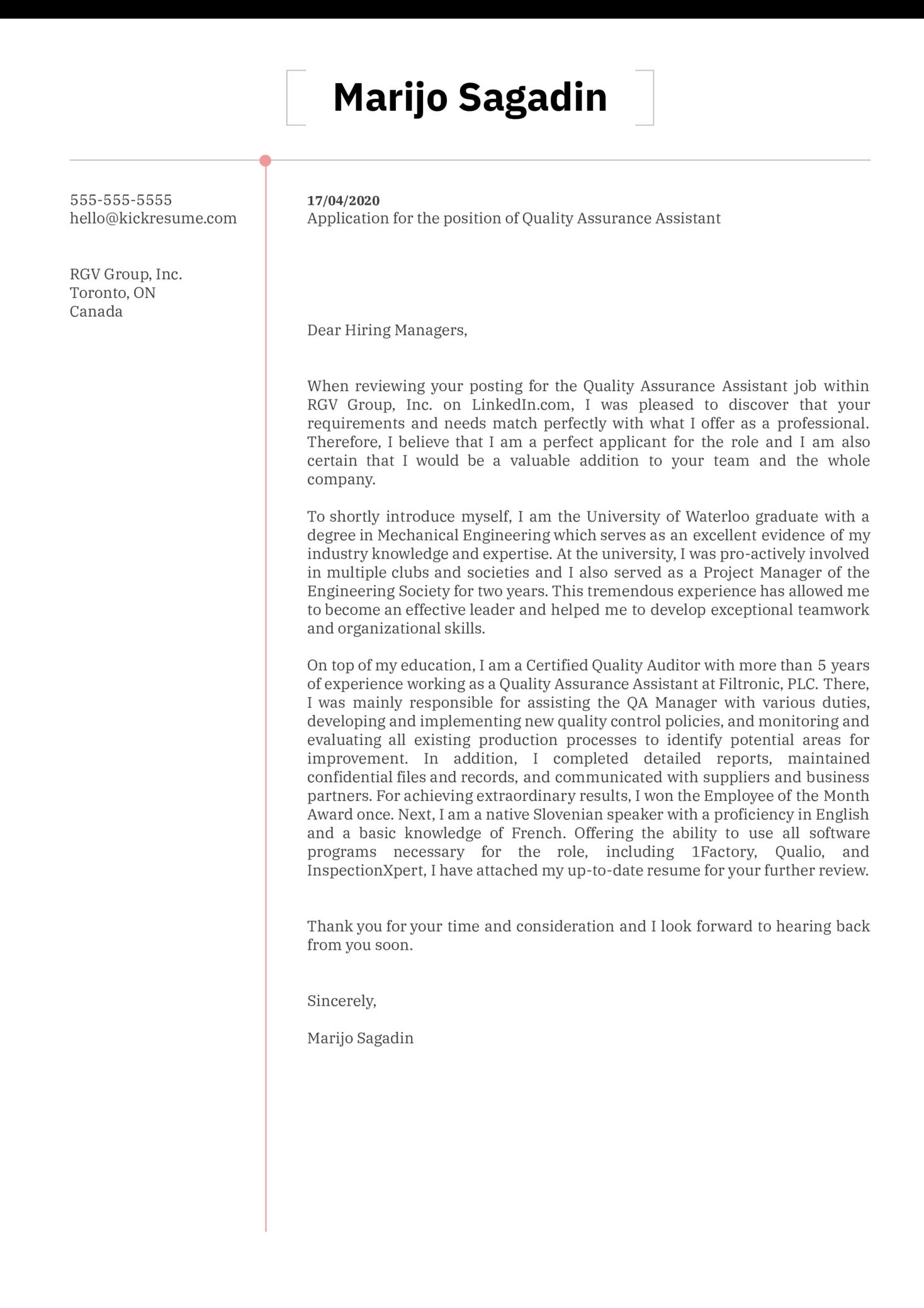 Quality Assurance Assistant Cover Letter Example