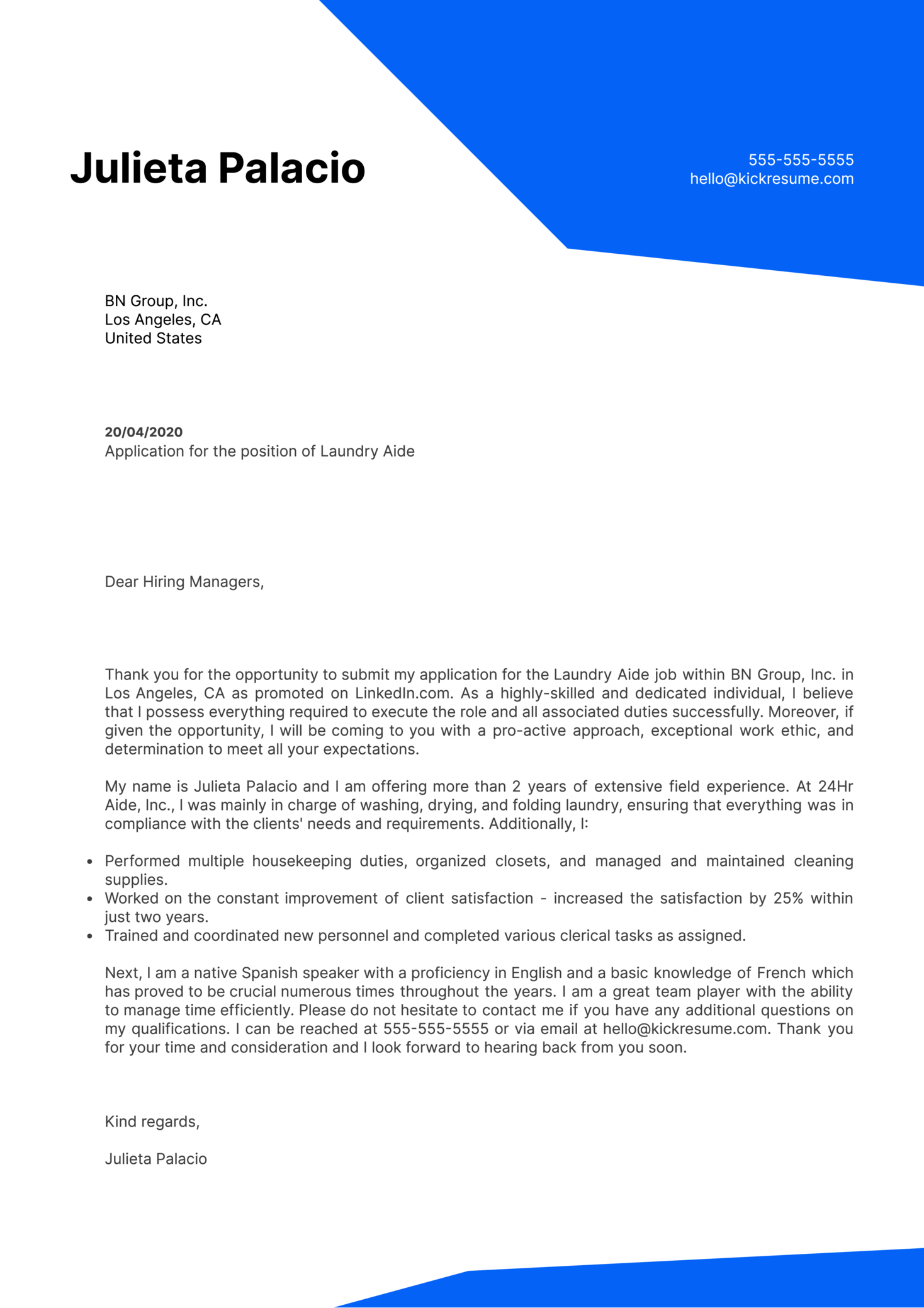 Laundry Aide Cover Letter Example