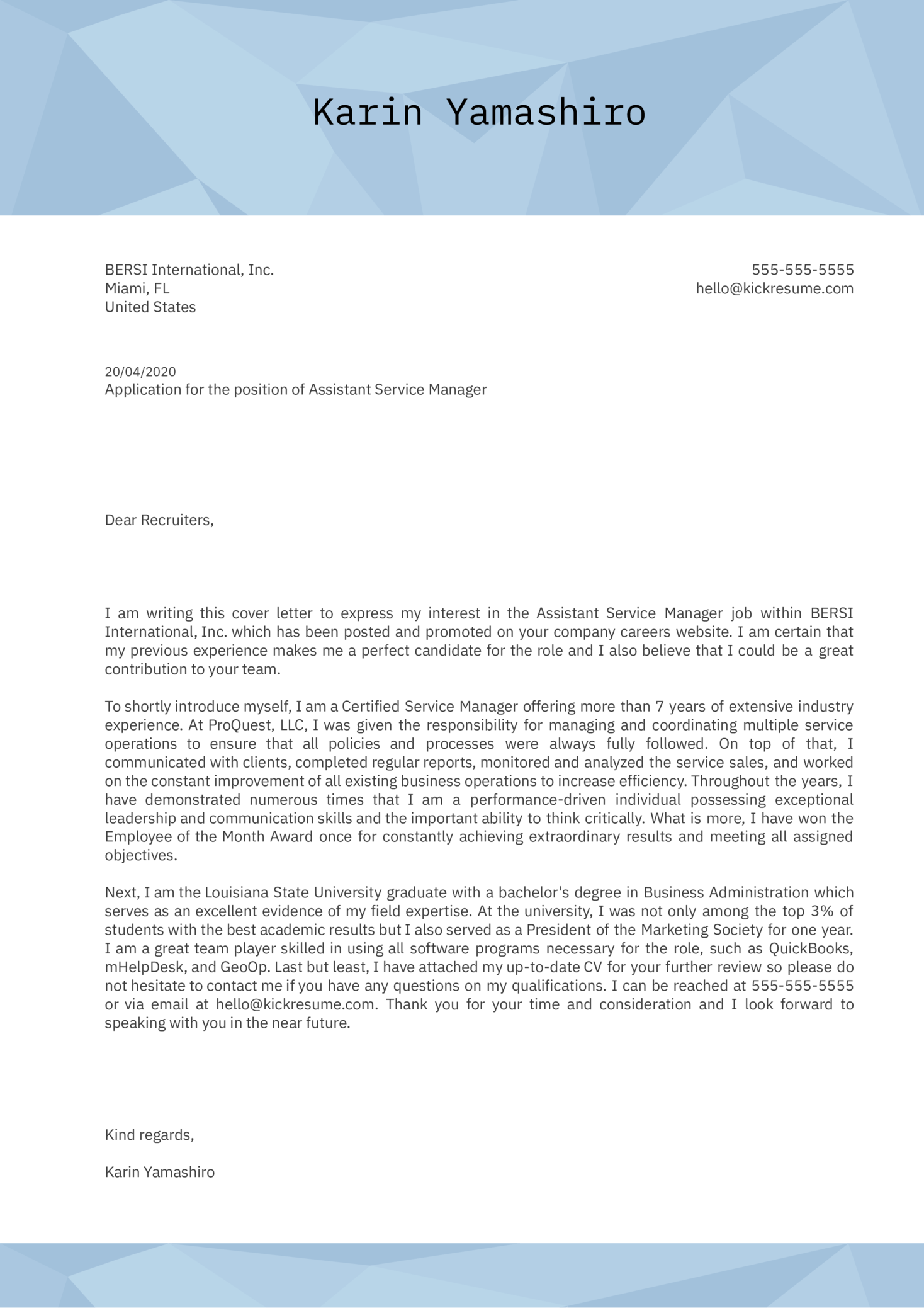 Assistant Service Manager Cover Letter Example
