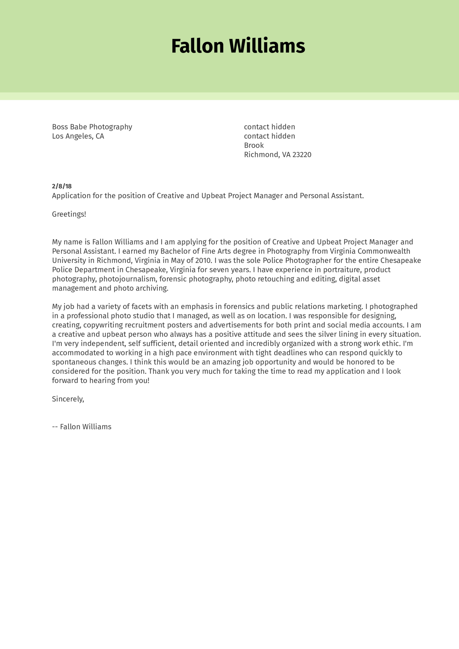 Personal Creative Assistant Cover Letter Sample