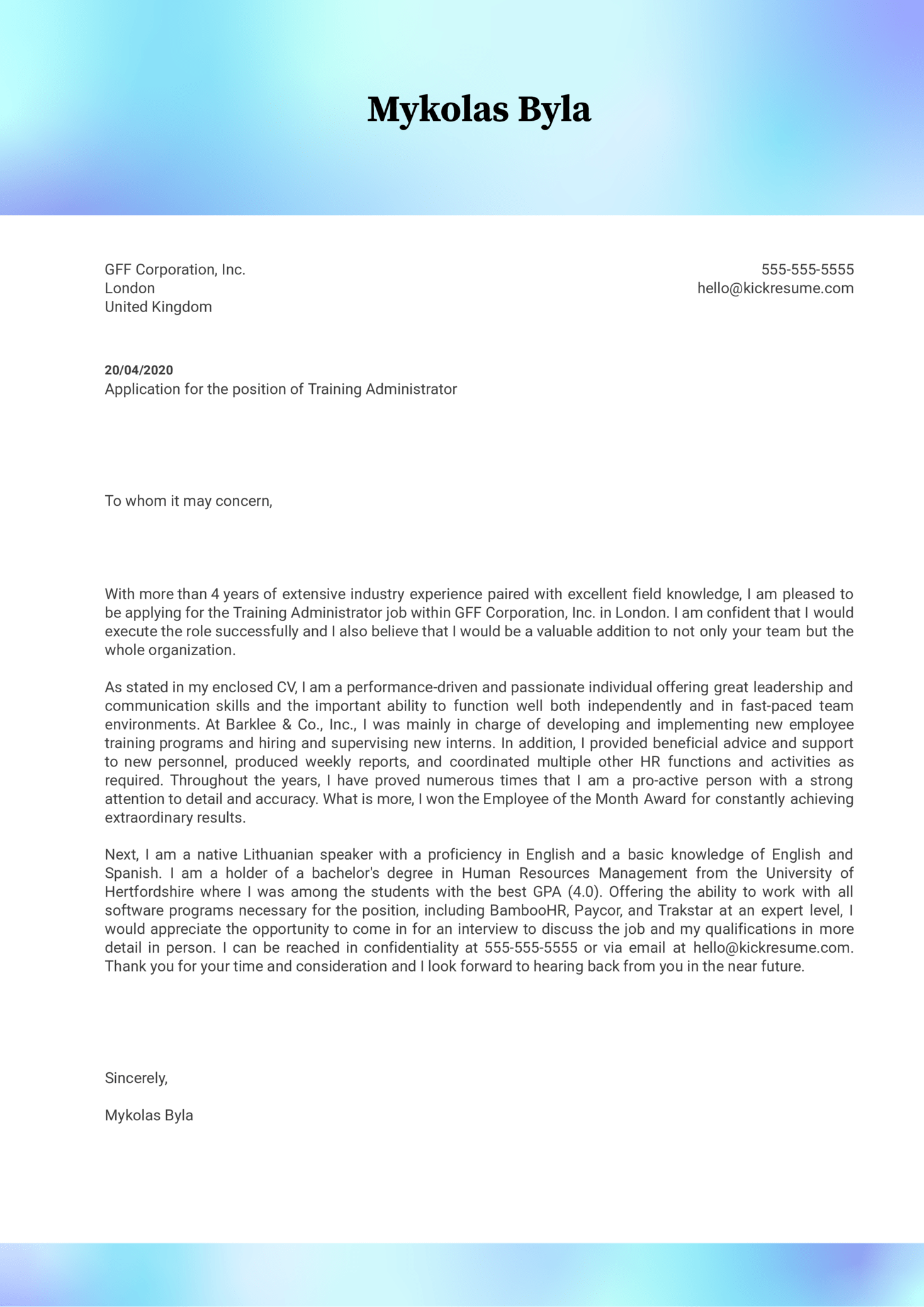 Training Administrator Cover Letter Example