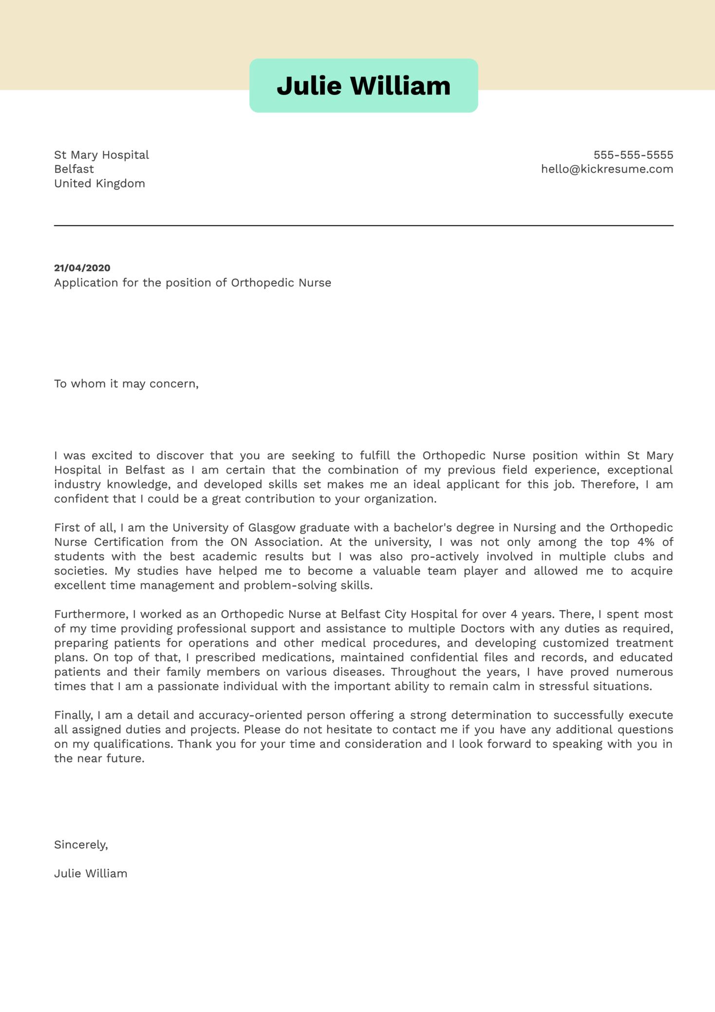 Orthopedic Nurse Cover Letter Sample