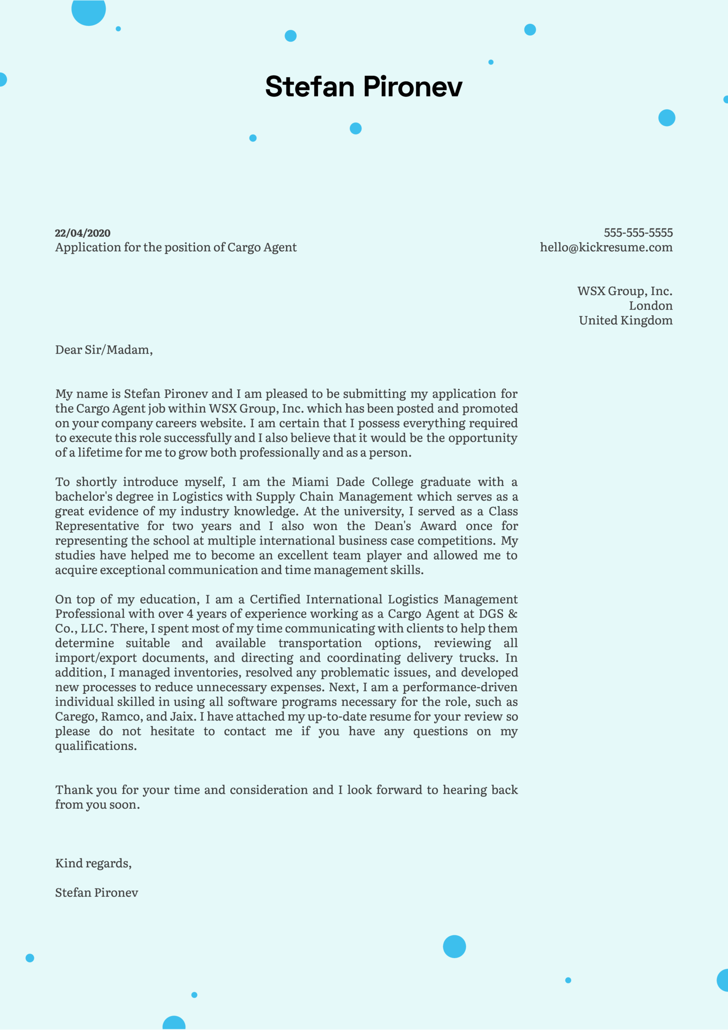 Cargo Agent Cover Letter Example