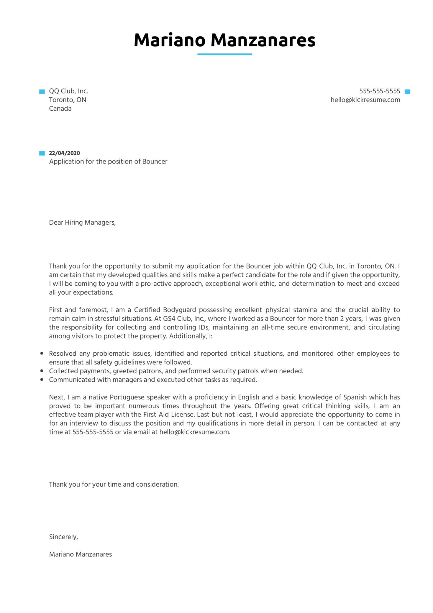 Bouncer Cover Letter Sample   Kickresume