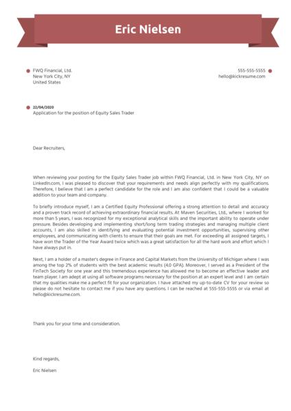 Equity Sales Trader Cover Letter Sample