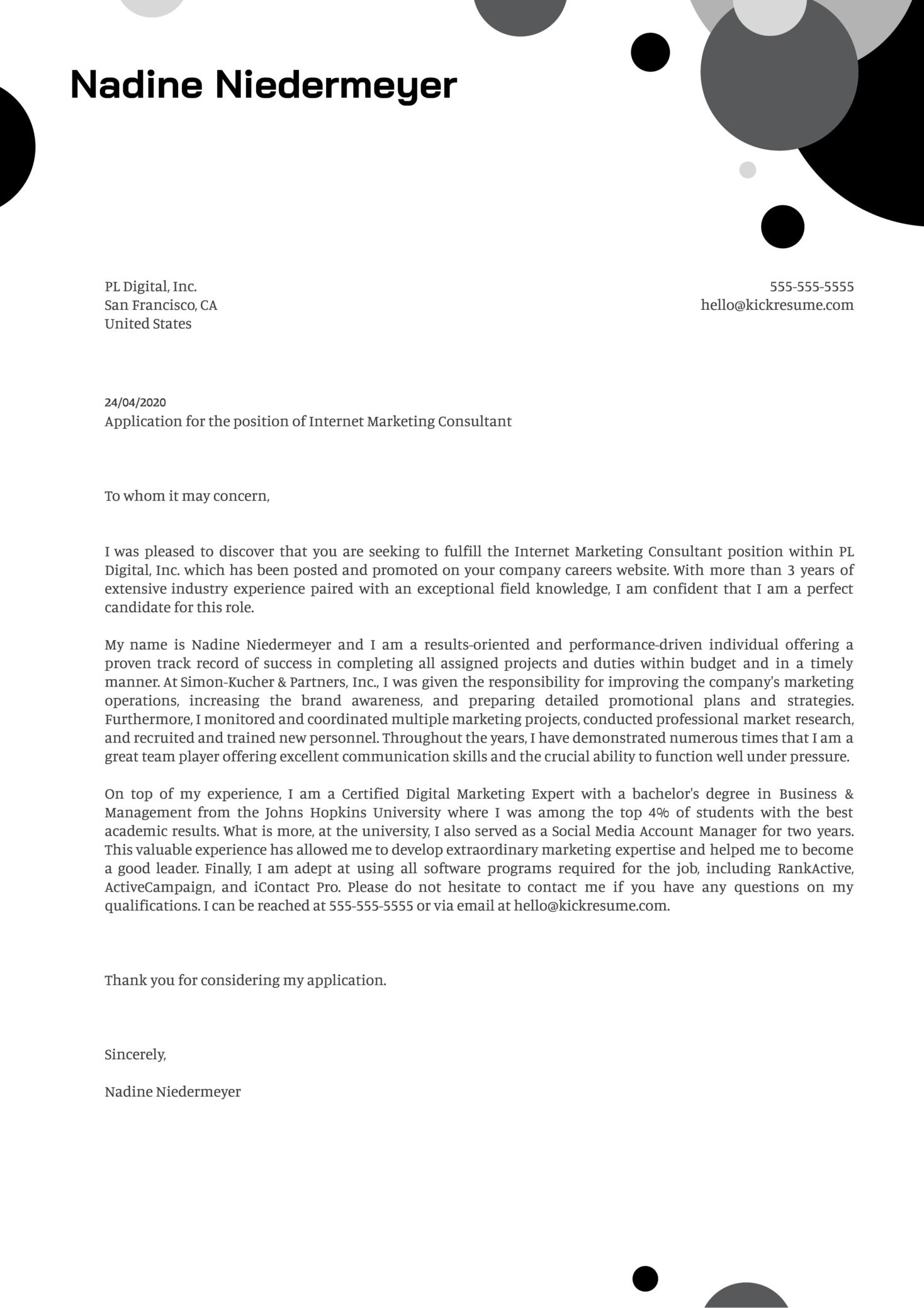 Internet Marketing Consultant Cover Letter Example