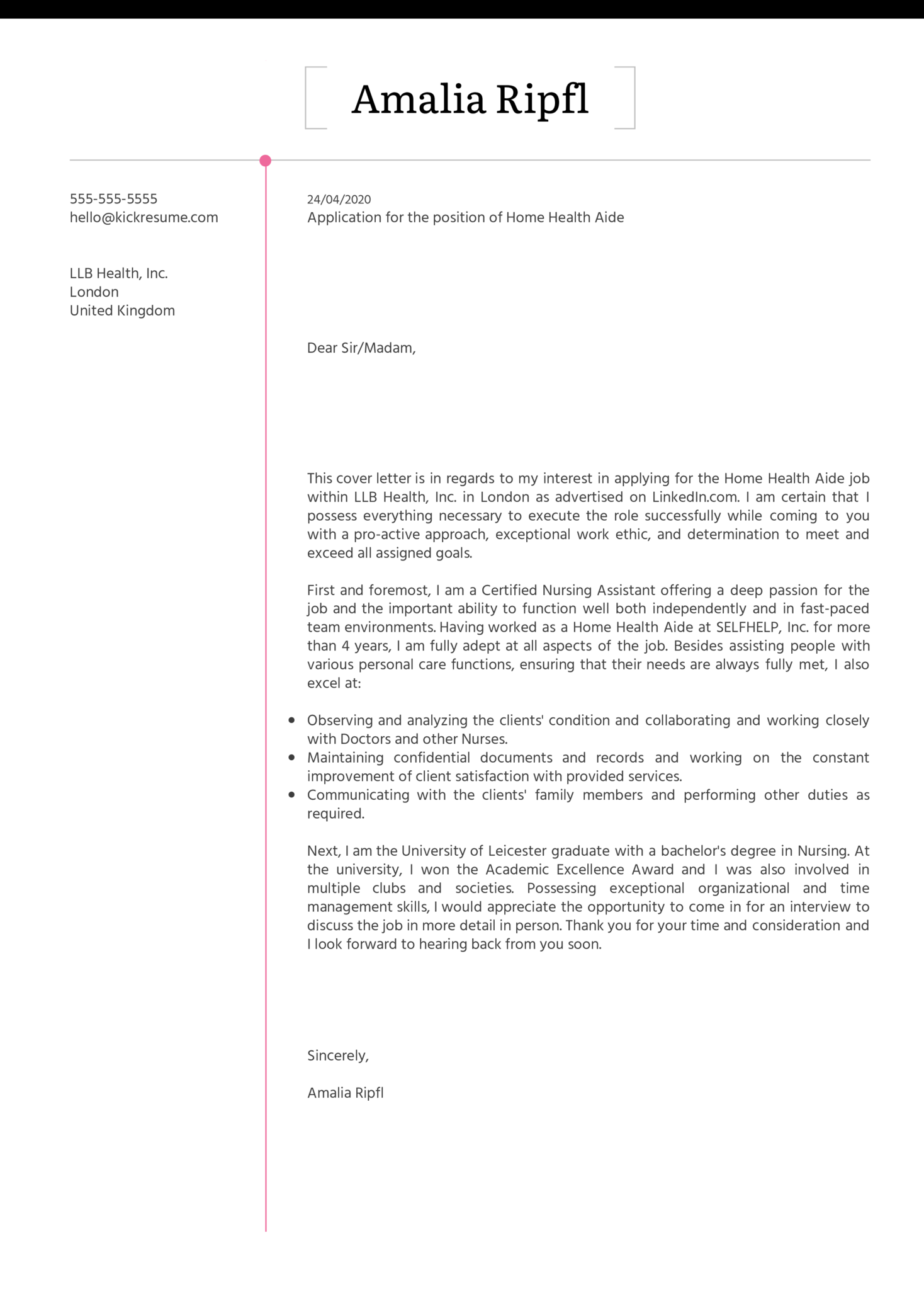 Home Health Aide Cover Letter Example