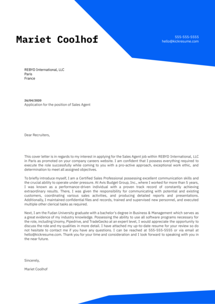Sales Agent Cover Letter Sample