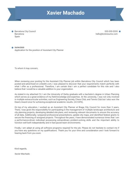Assistant City Planner Cover Letter Sample