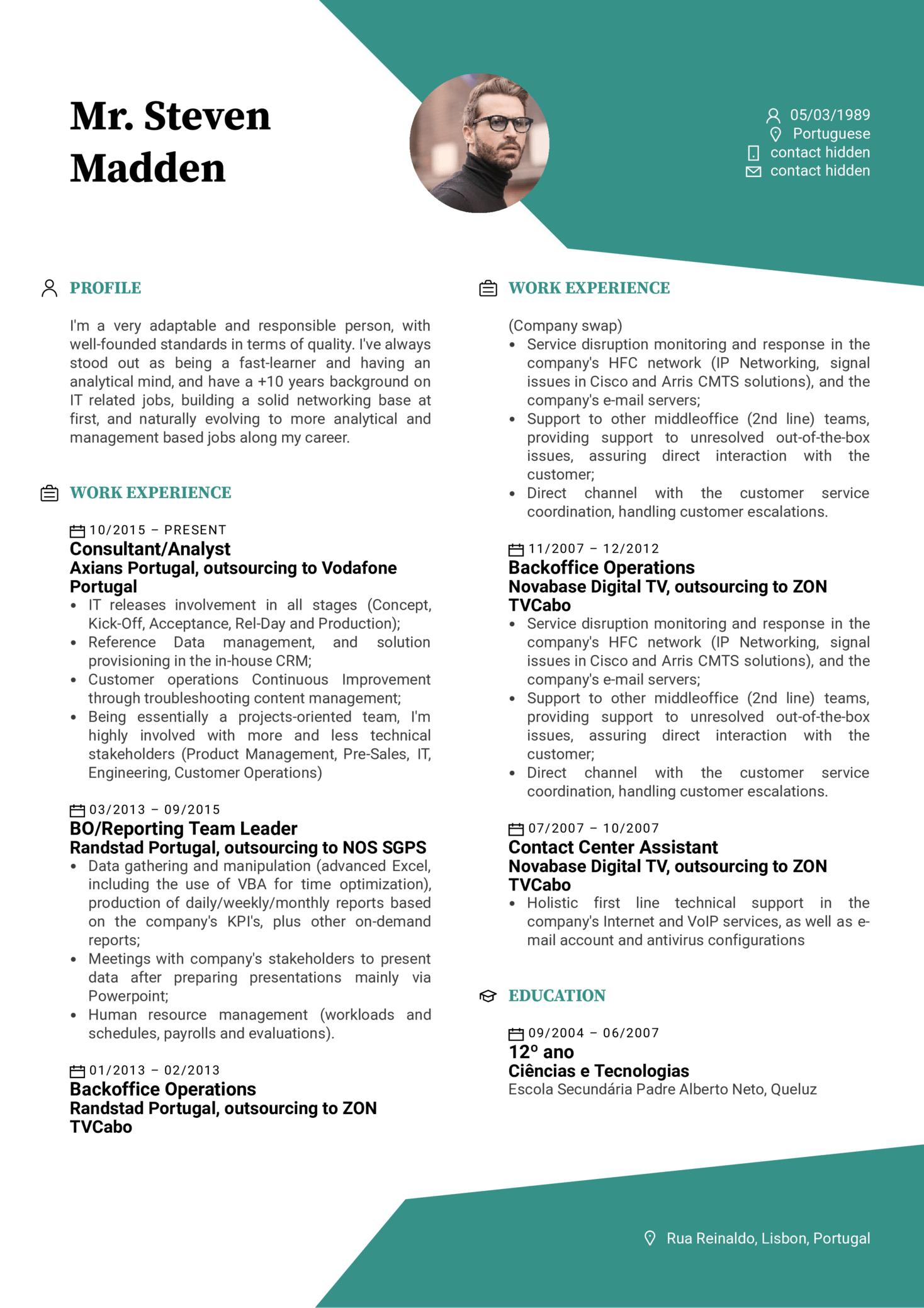 Hoist Group Service Assurance Manager Resume Sample (Teil 1)