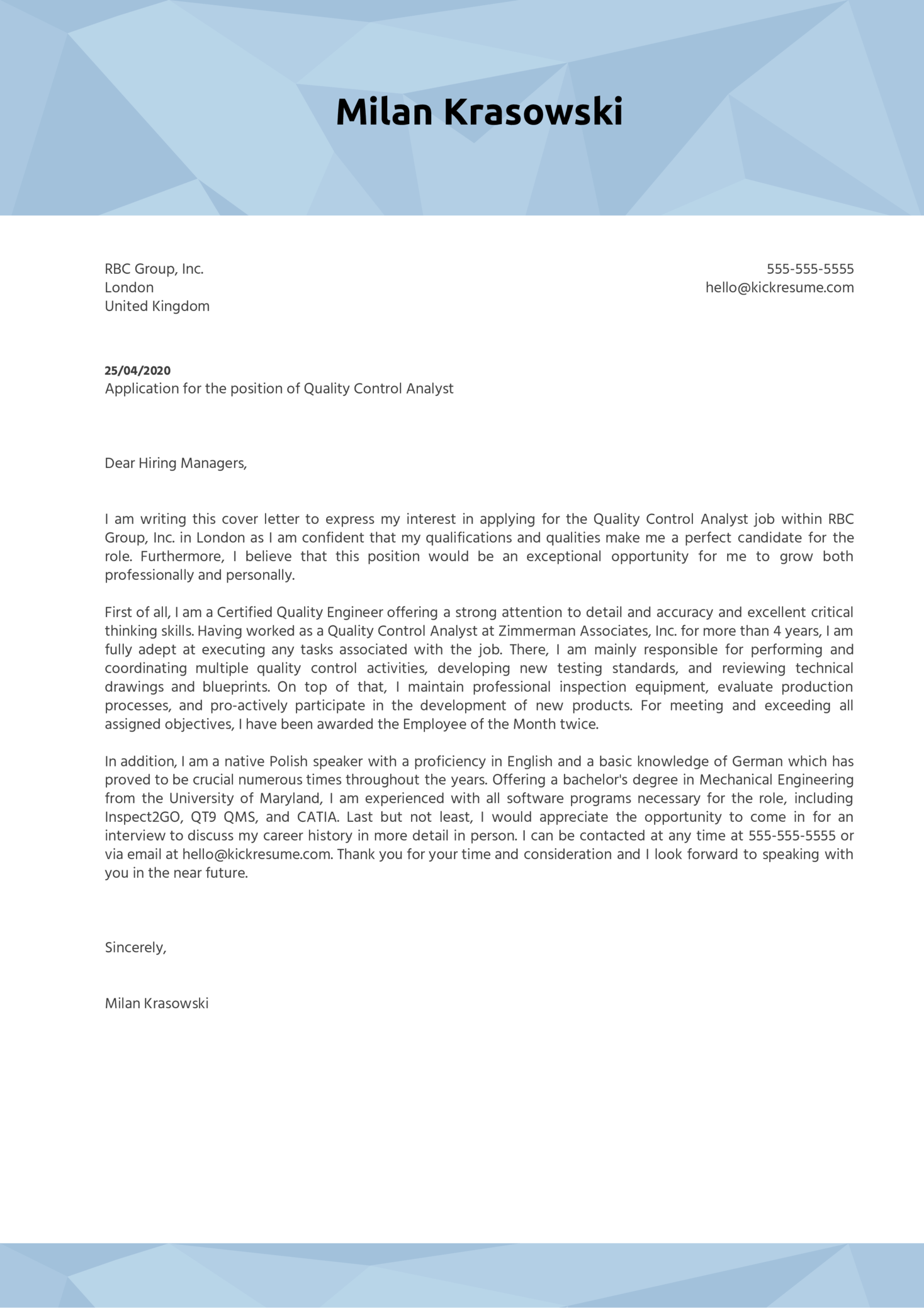 Quality Control Analyst Cover Letter Example