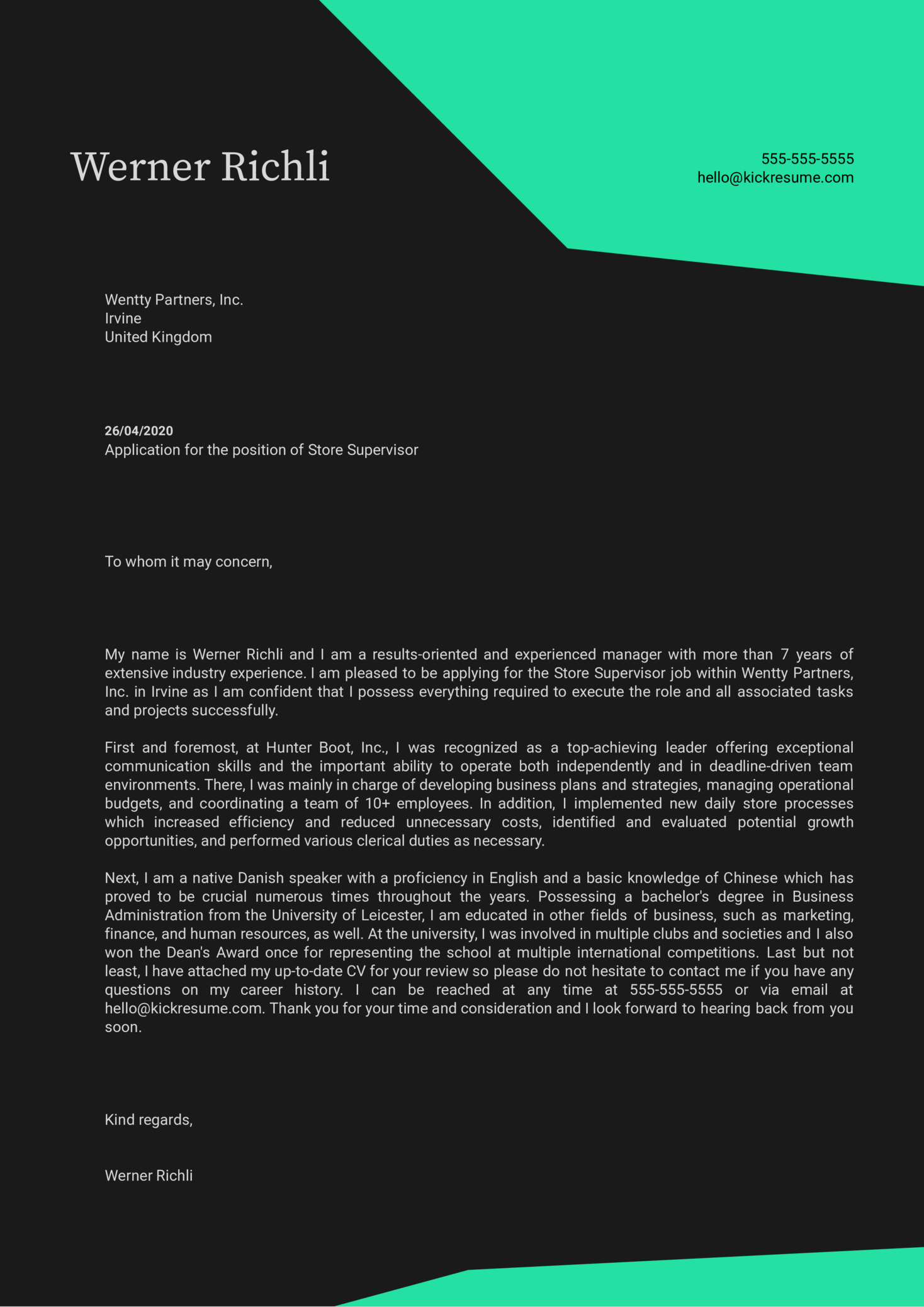 Store Supervisor Cover Letter Sample