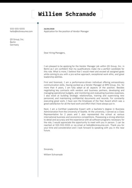 Vendor Manager Cover Letter Sample