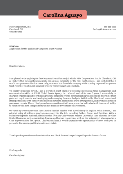 Corporate Event Planner Cover Letter Sample