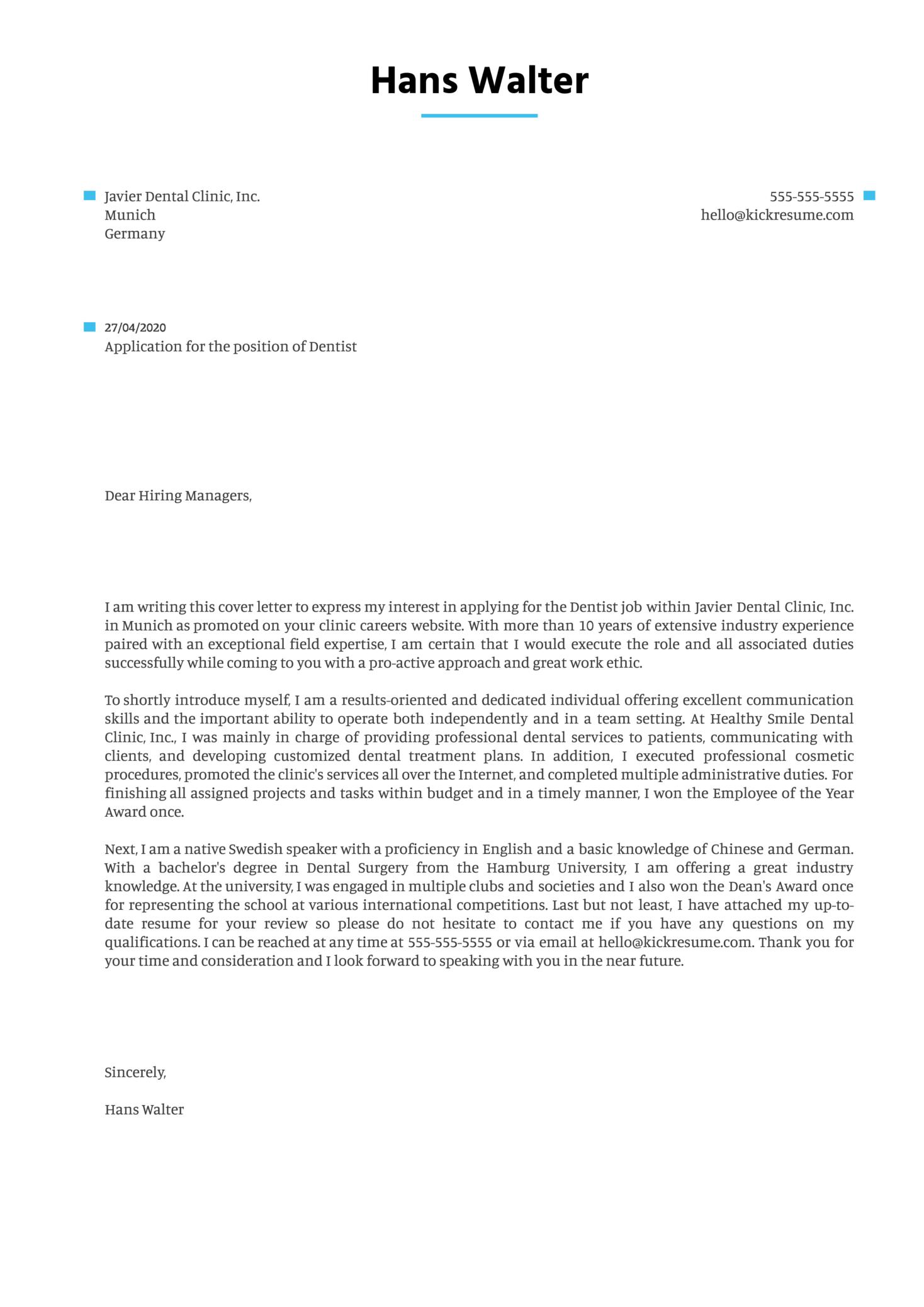Dentist Cover Letter Example