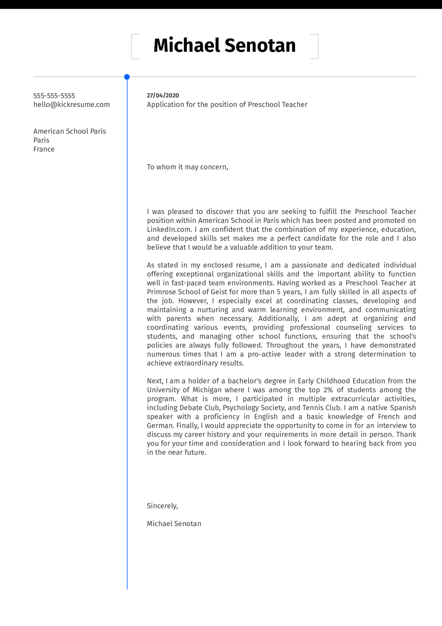 Preschool Teacher Cover Letter Example