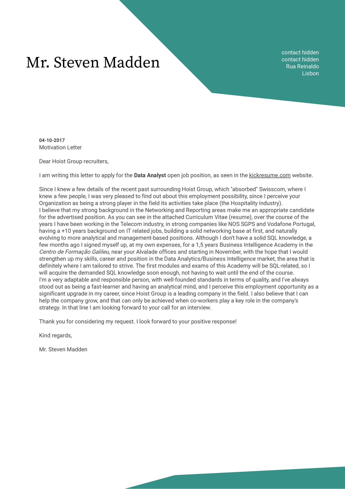 Hoist Group Service Assurance Manager Cover Letter Sample