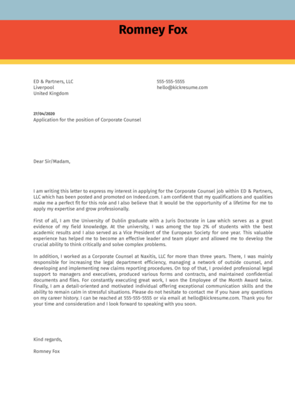 Corporate Counsel Cover Letter Sample