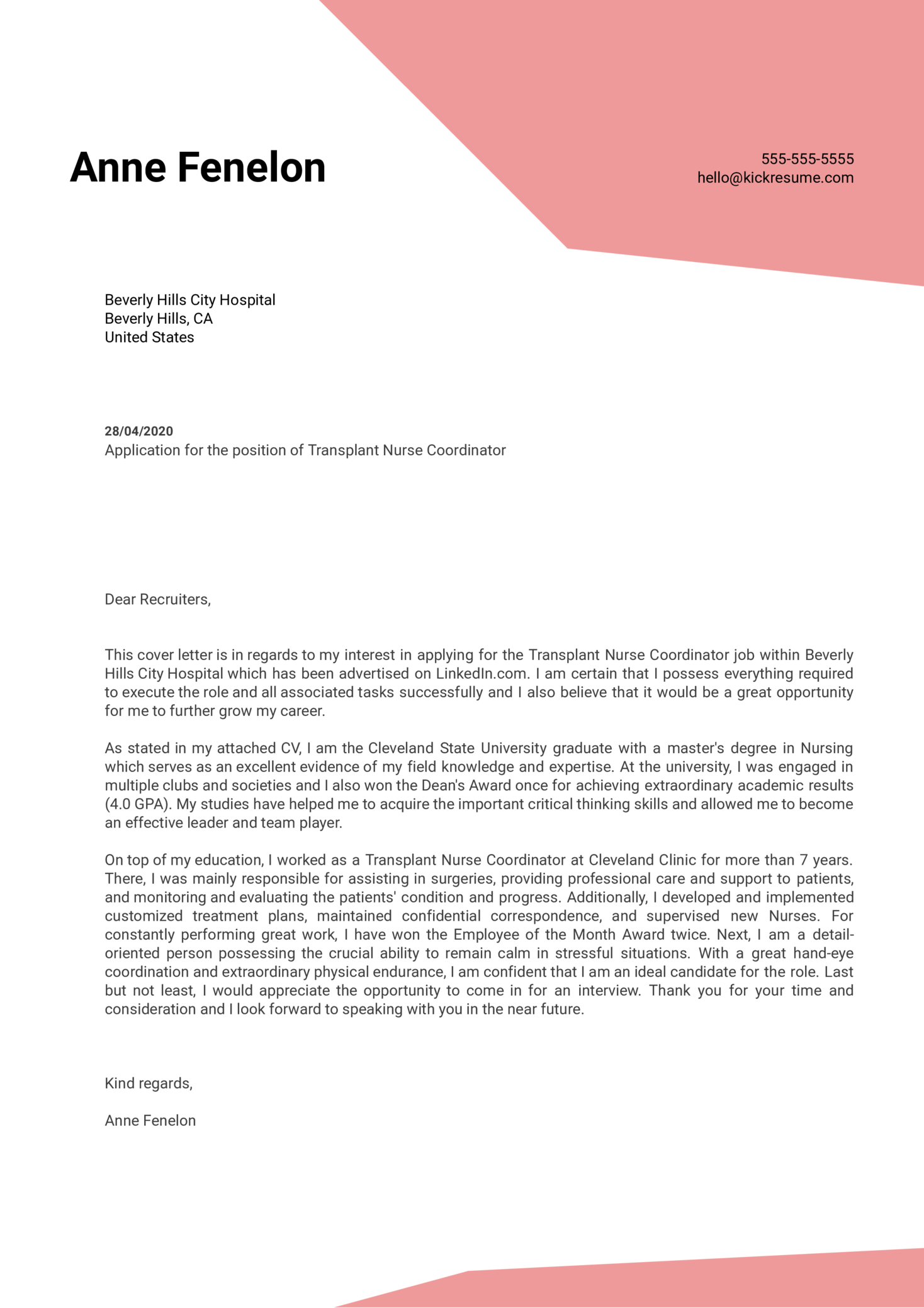 Transplant Nurse Coordinator Cover Letter Sample