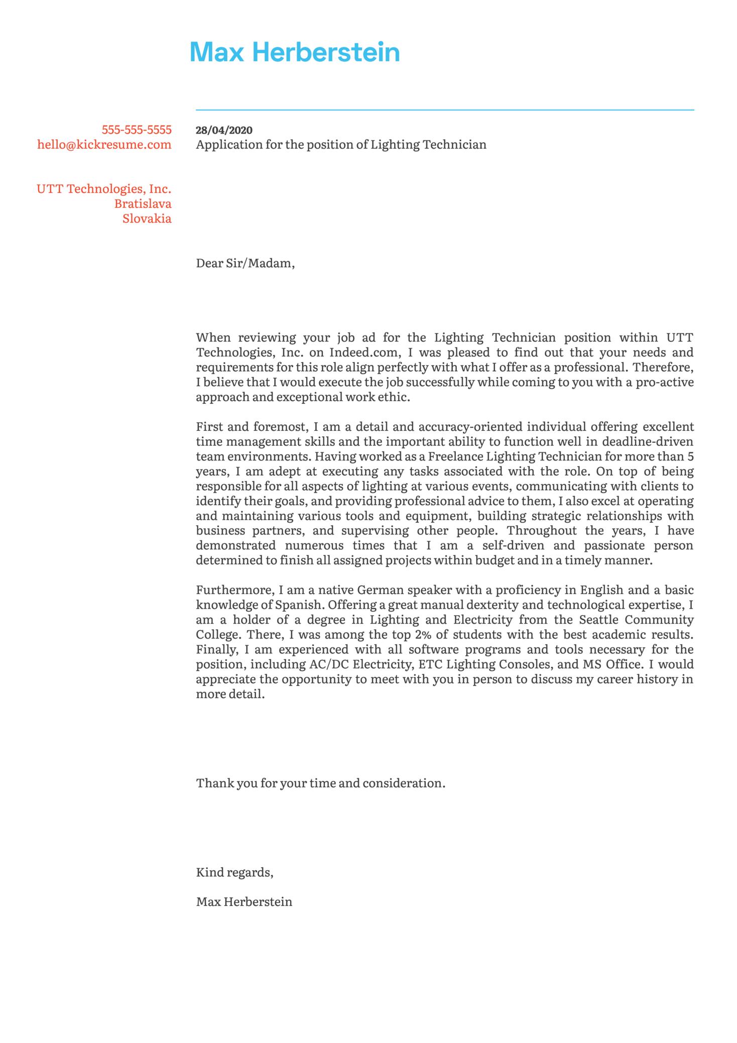 Lighting Technician Cover Letter Example