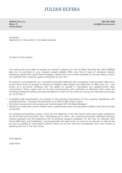 Car Sales Associate Cover Letter Sample