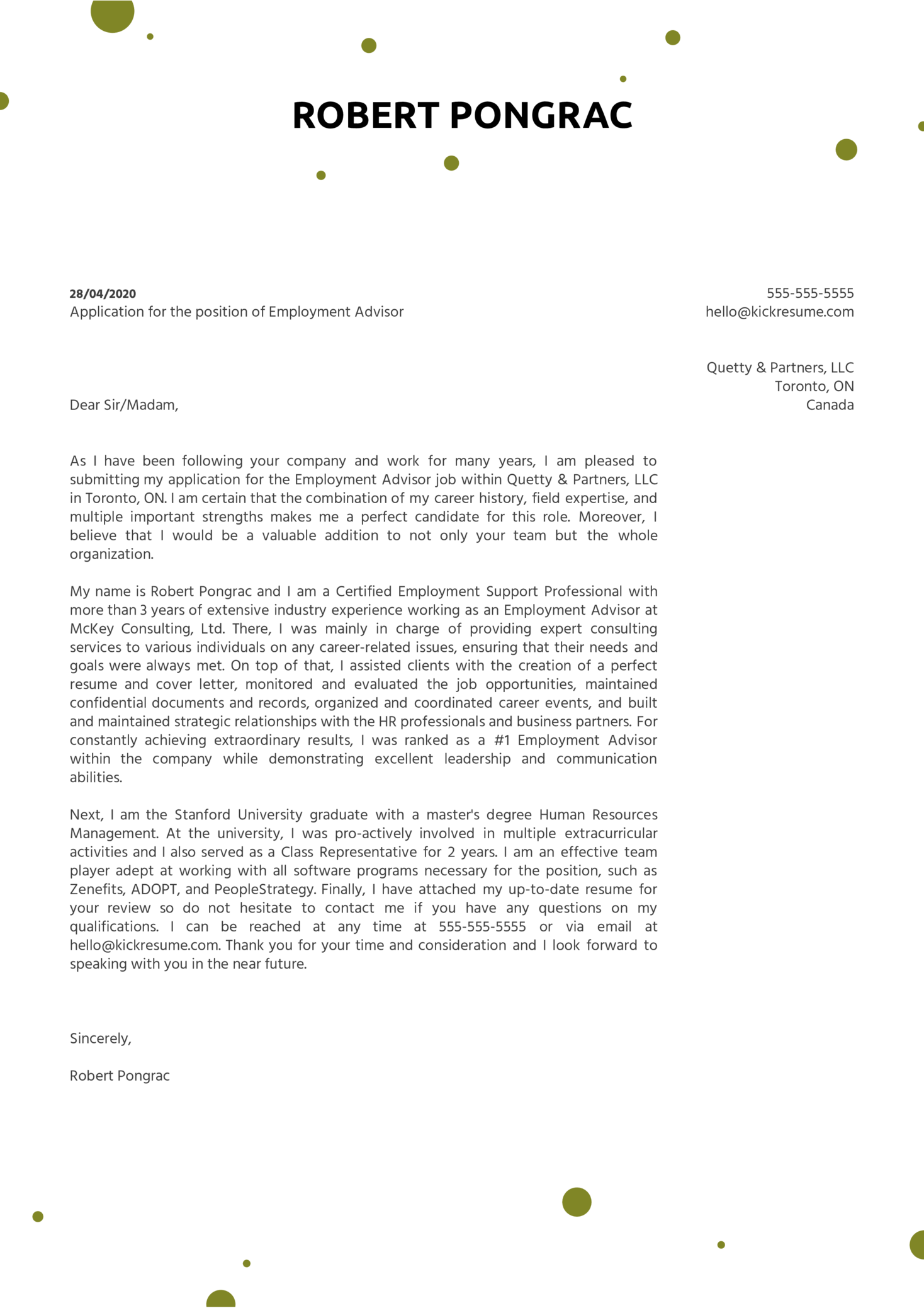 Employment Advisor Cover Letter Example