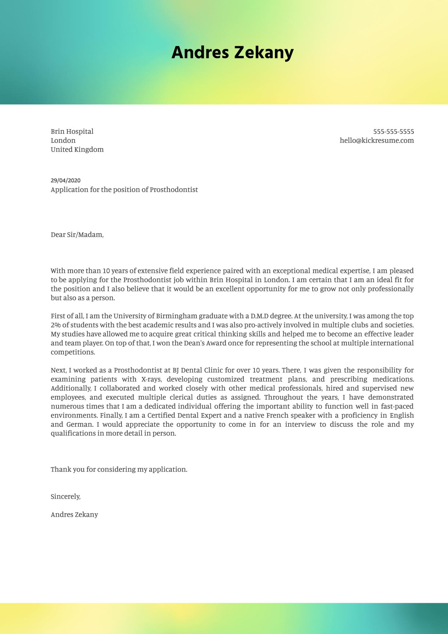 Prosthodontist Cover Letter Sample
