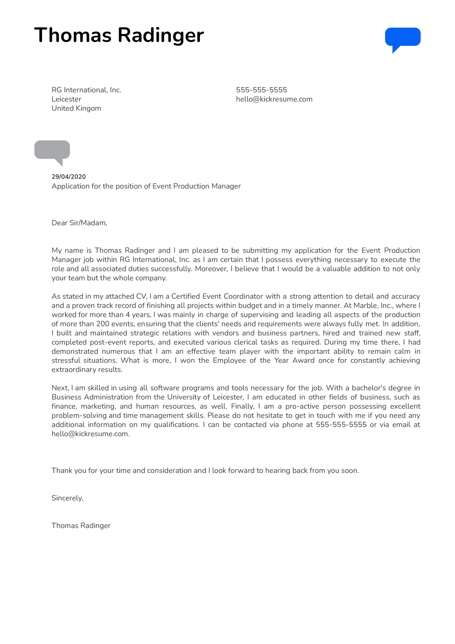 Event Production Manager Cover Letter Sample
