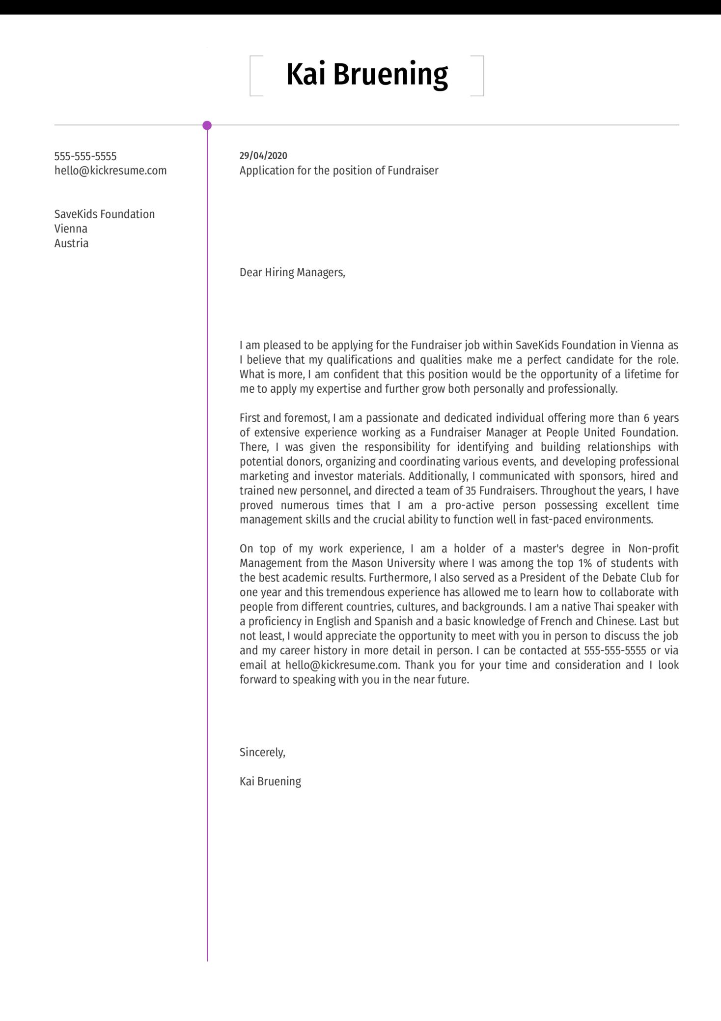 Fundraiser Cover Letter Sample
