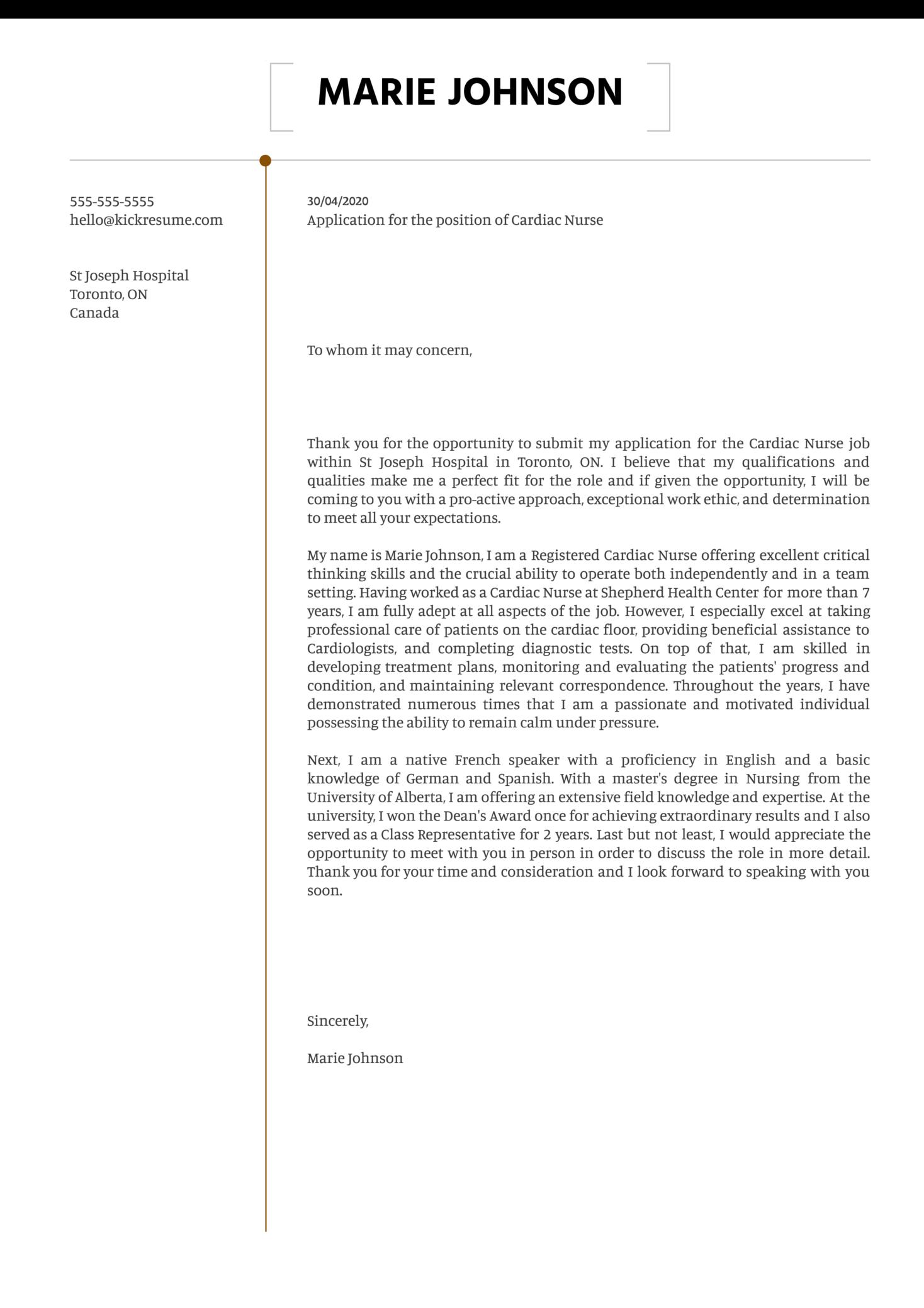 Cardiac Nurse Cover Letter Sample
