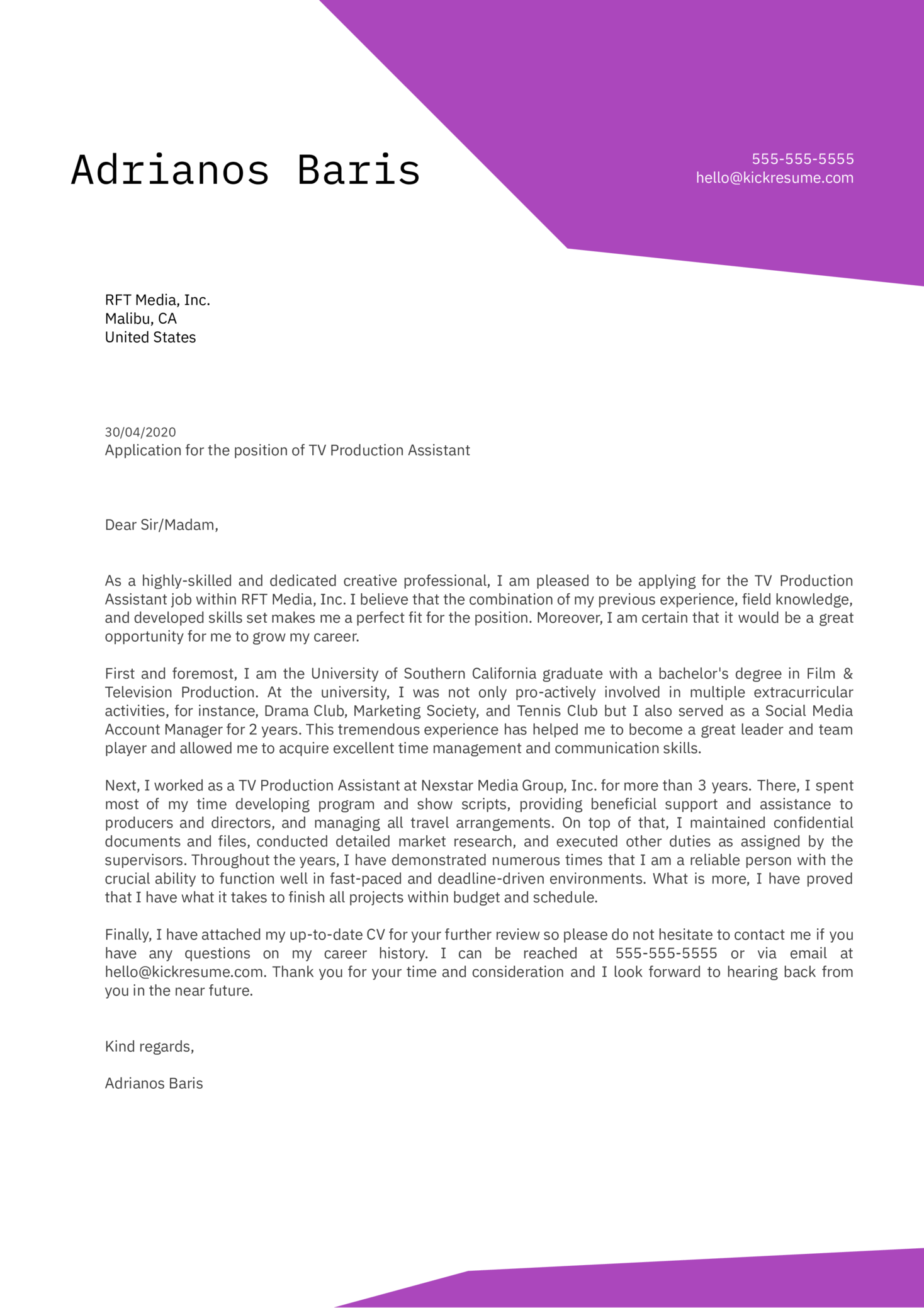 TV Production Assistant Cover Letter Sample