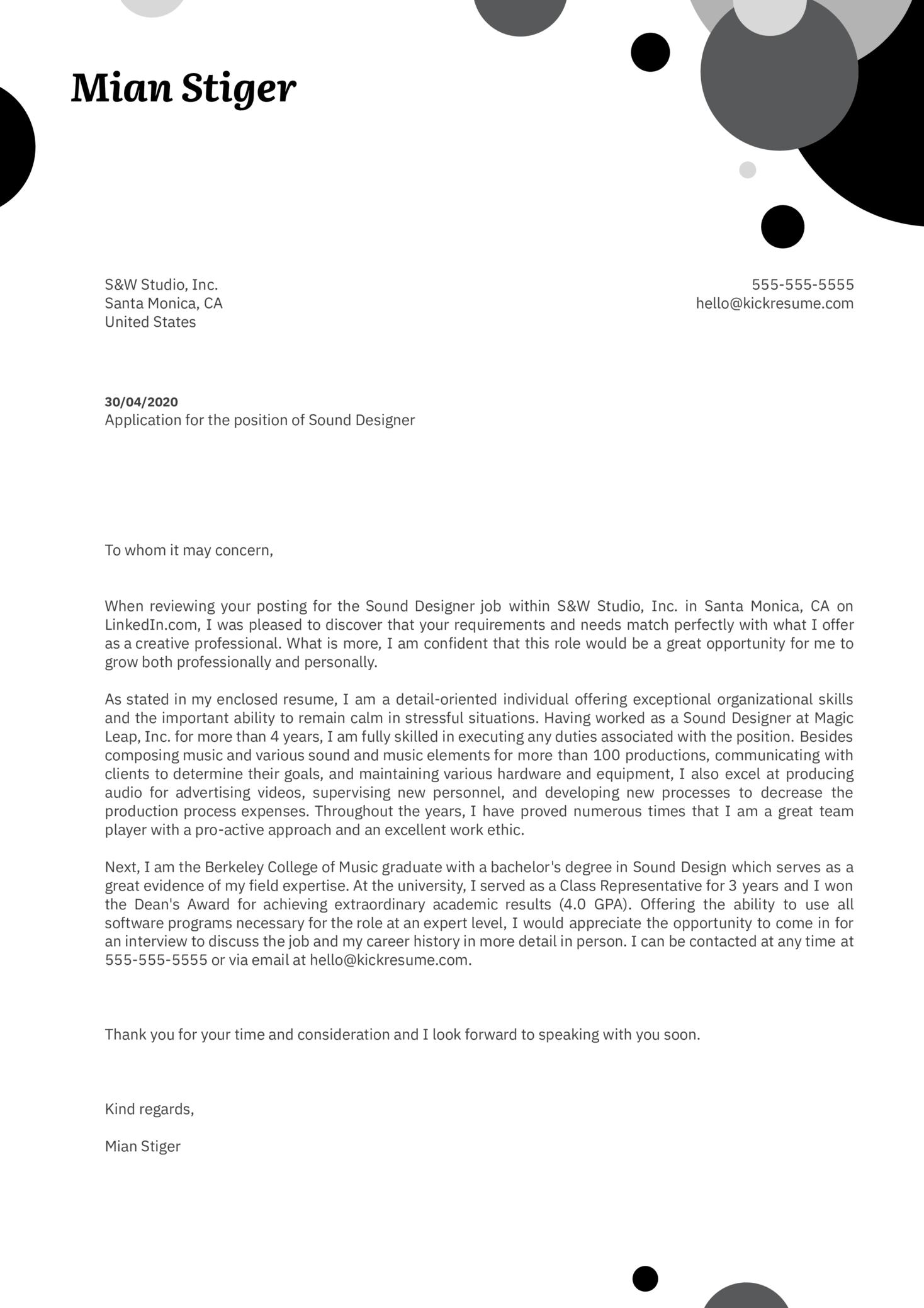 Sound Designer Cover Letter Example