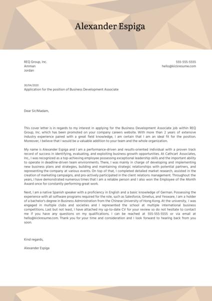 Business Development Associate Cover Letter Sample