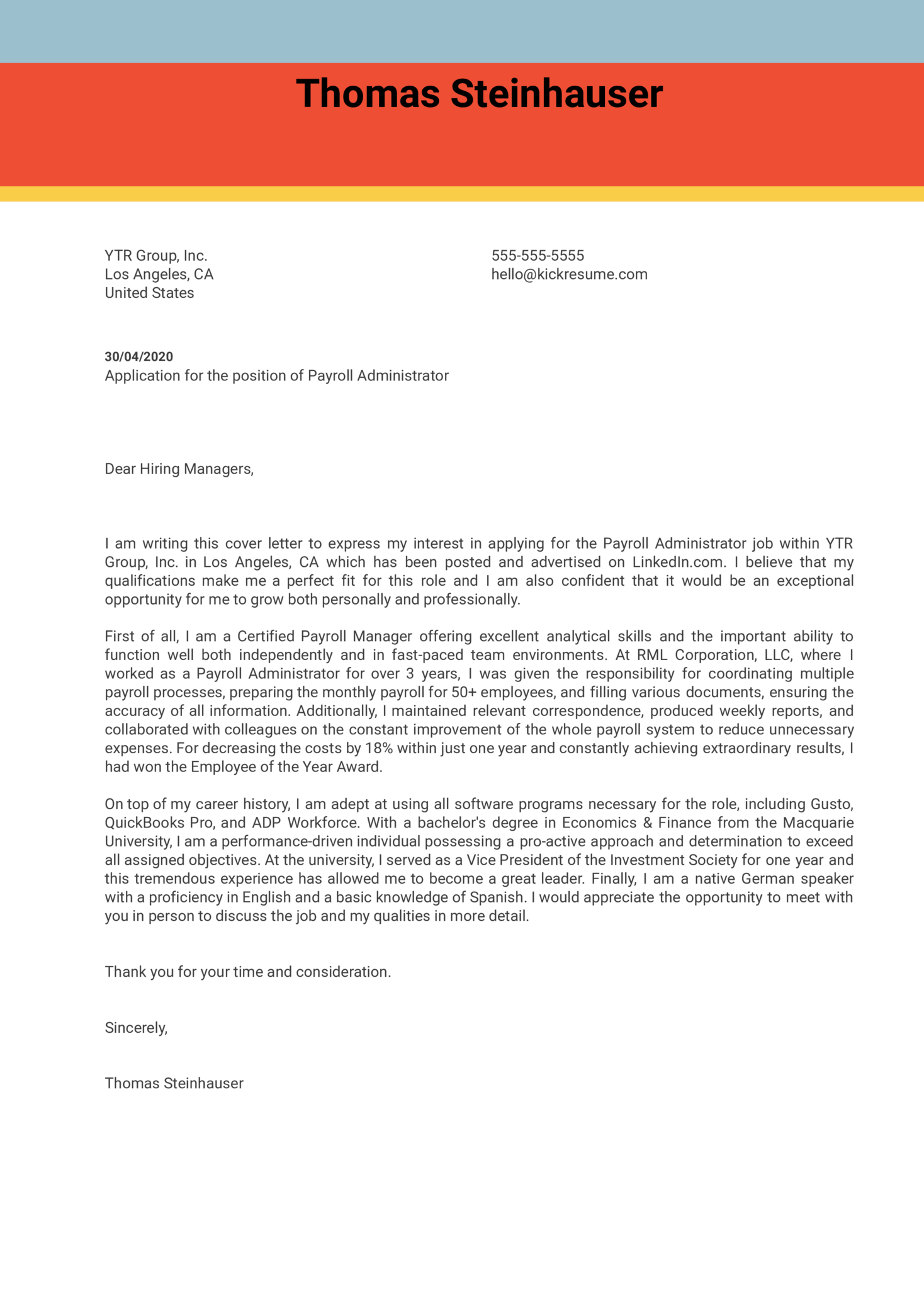 Payroll Administrator Cover Letter Example